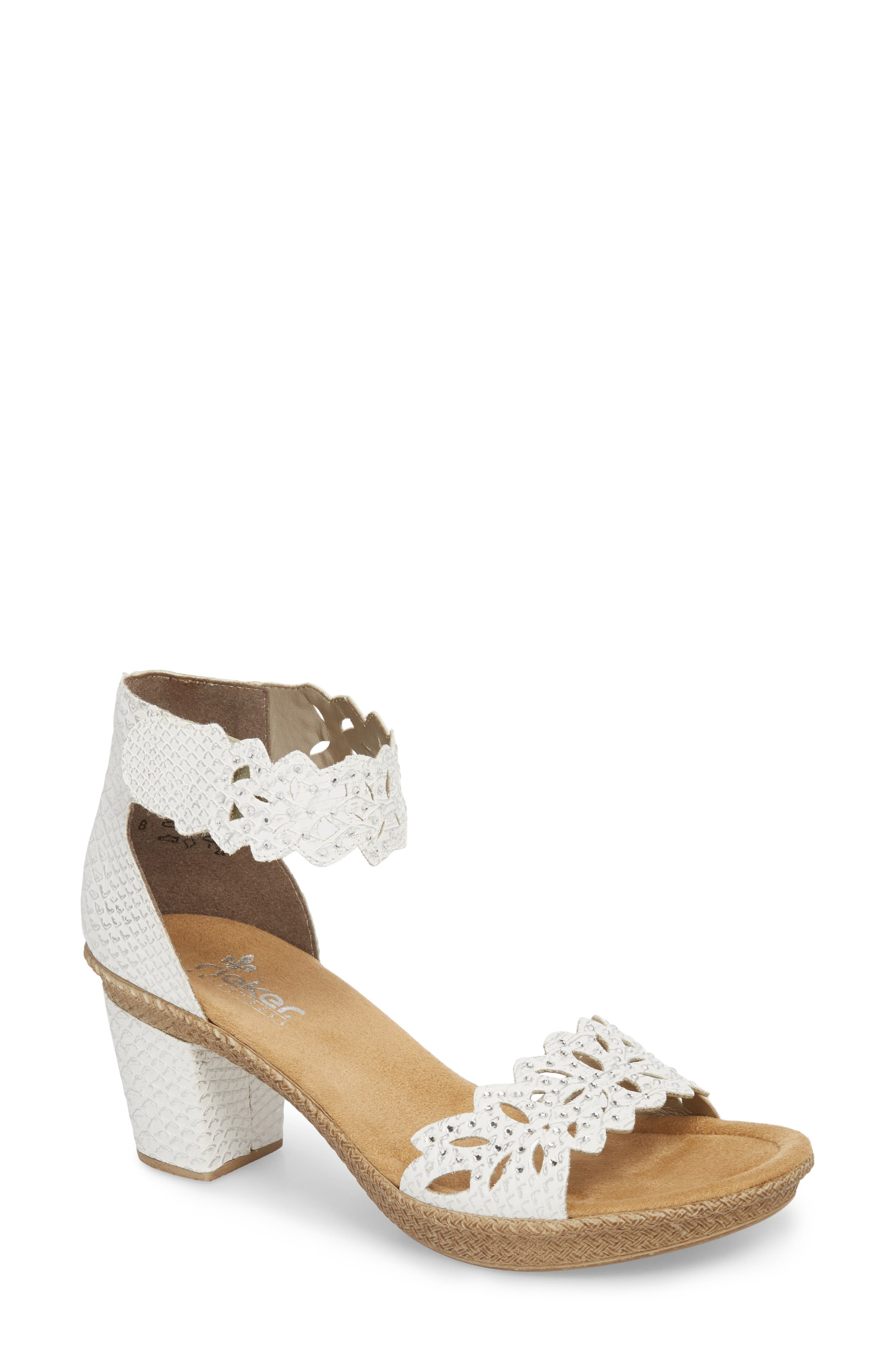 'Rabea' Sandal,                         Main,                         color, WHITE/ SILVER