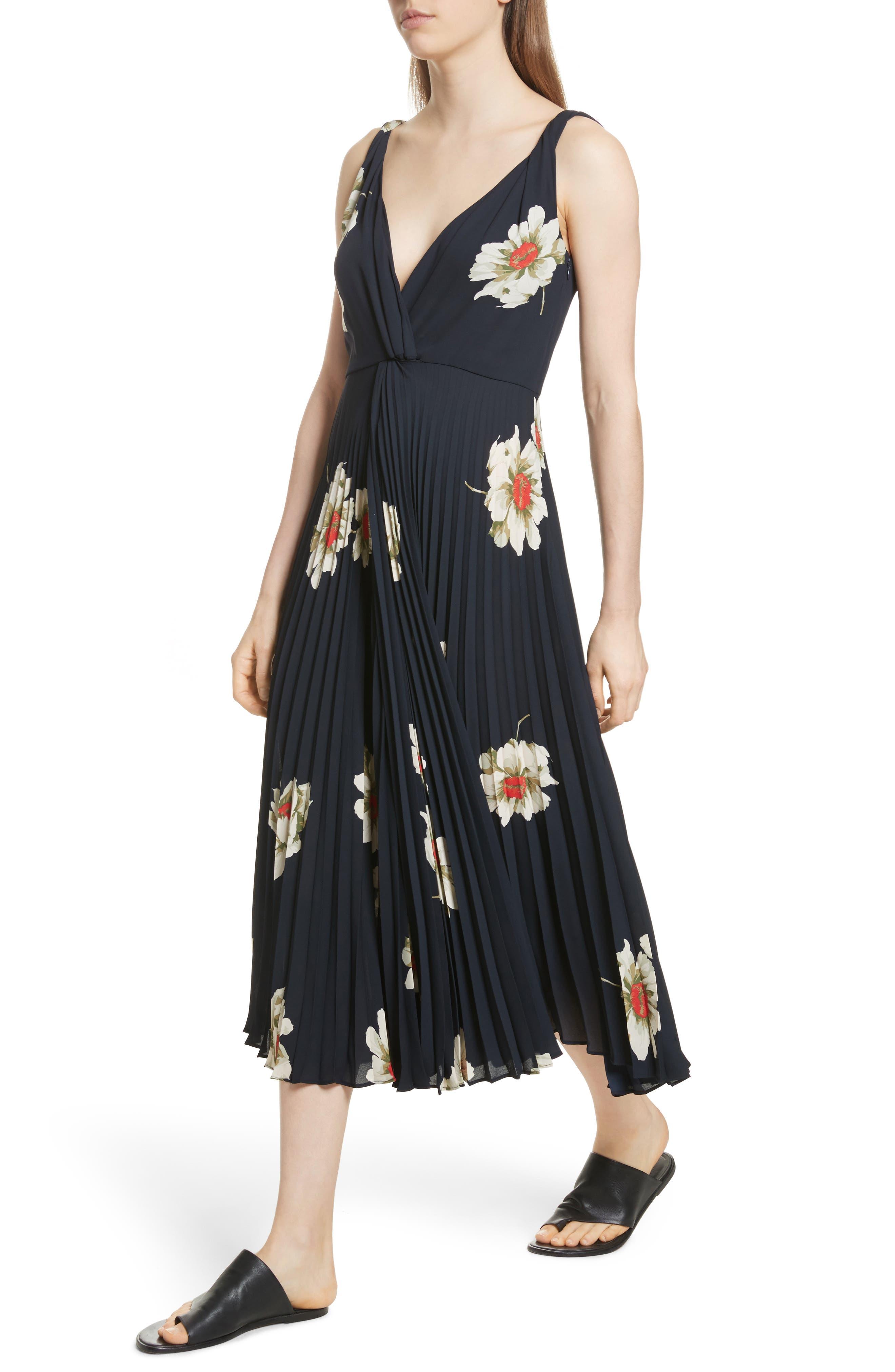 Gardenia Floral Midi Dress,                             Alternate thumbnail 4, color,                             403