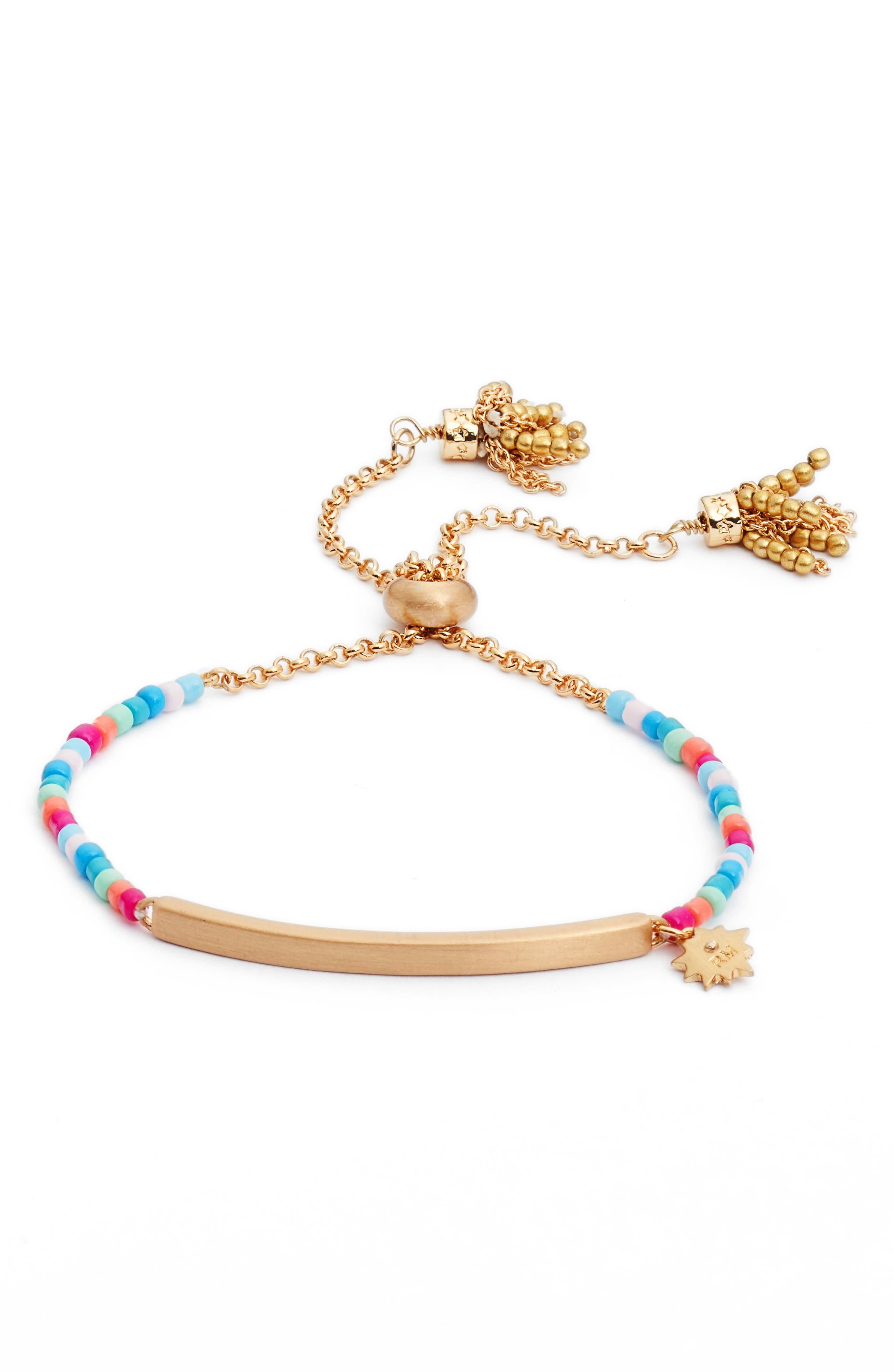 Sole Beaded Adjustable Bracelet,                             Main thumbnail 1, color,                             710