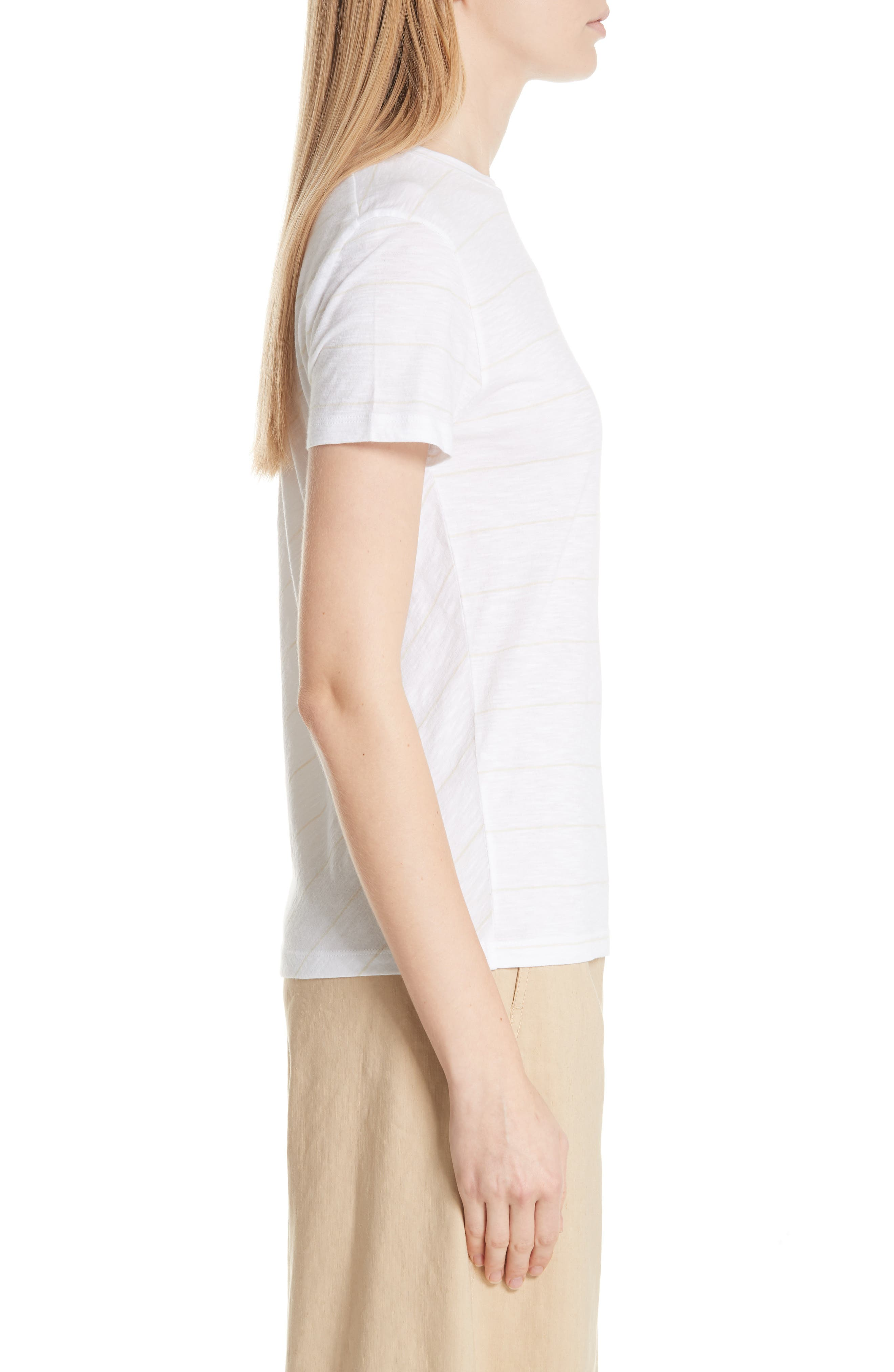 Skinny Stripe Pima Cotton Top,                             Alternate thumbnail 3, color,                             106