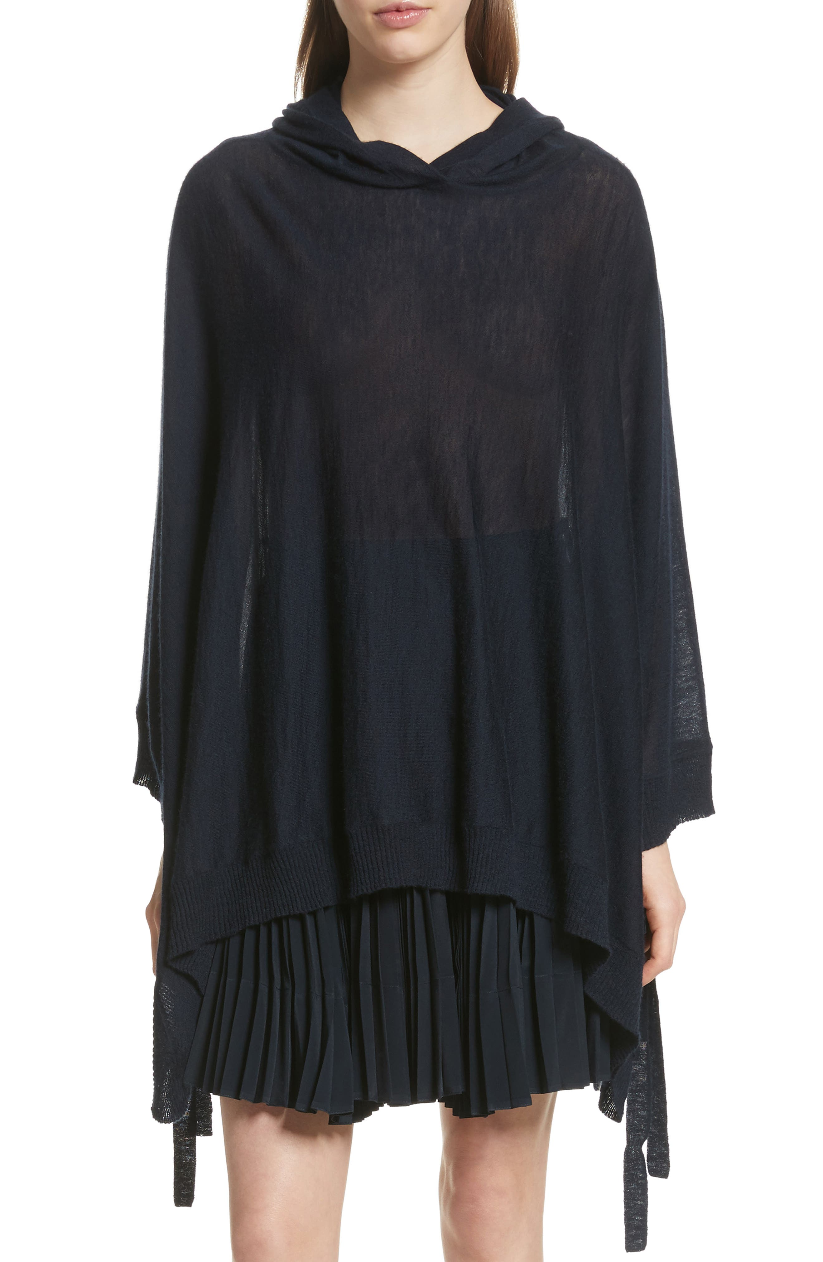 Hooded Wool & Cashmere Poncho,                         Main,                         color, 403