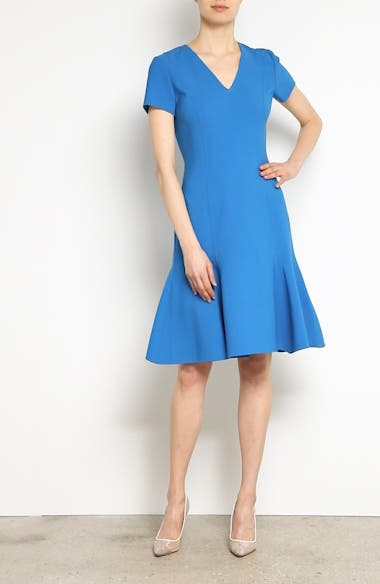 Flutter Hem Wool Blend Sheath Dress, video thumbnail