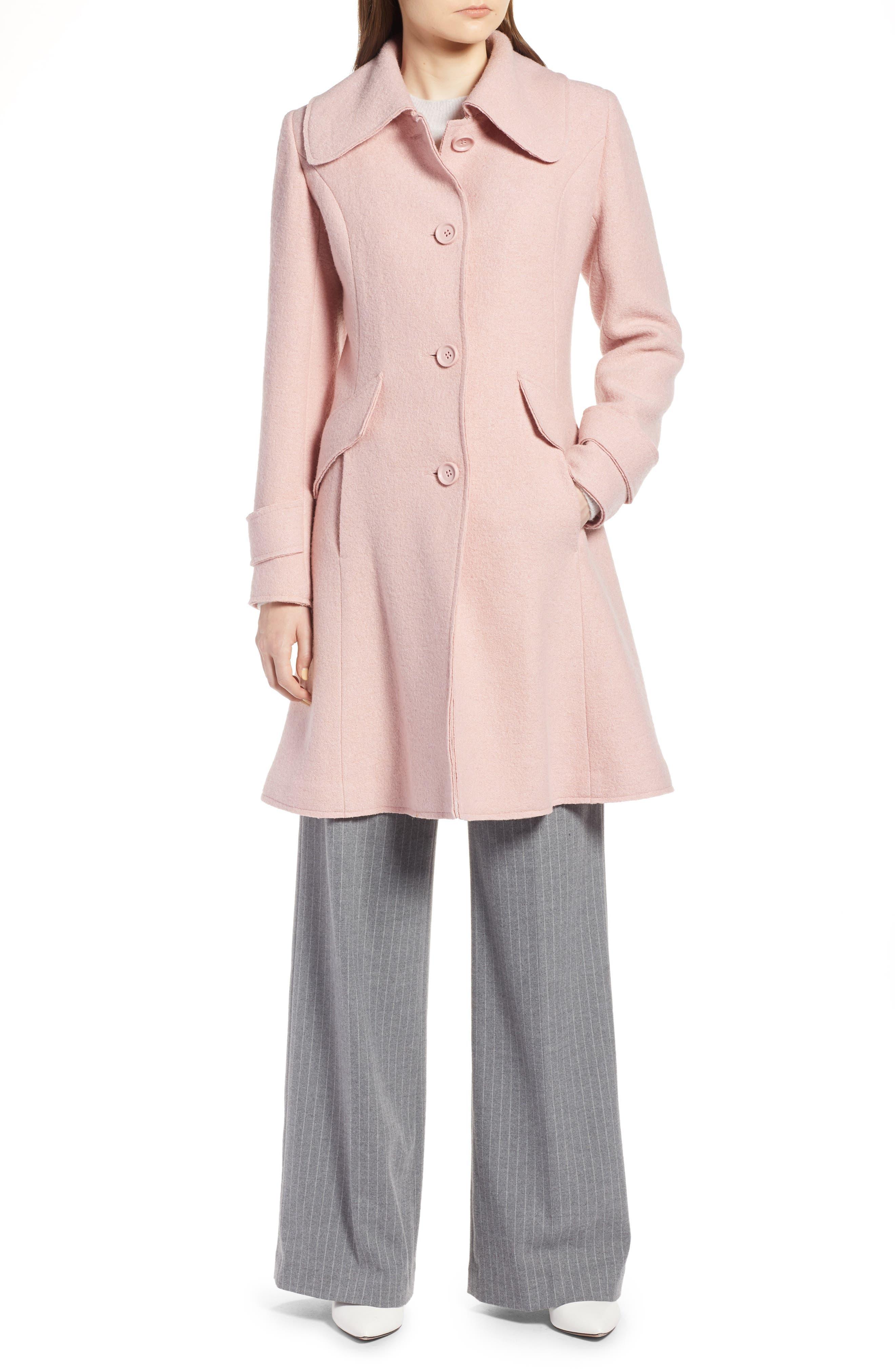 Boiled Wool Blend Fit & Flare Coat,                             Alternate thumbnail 4, color,                             BLUSH