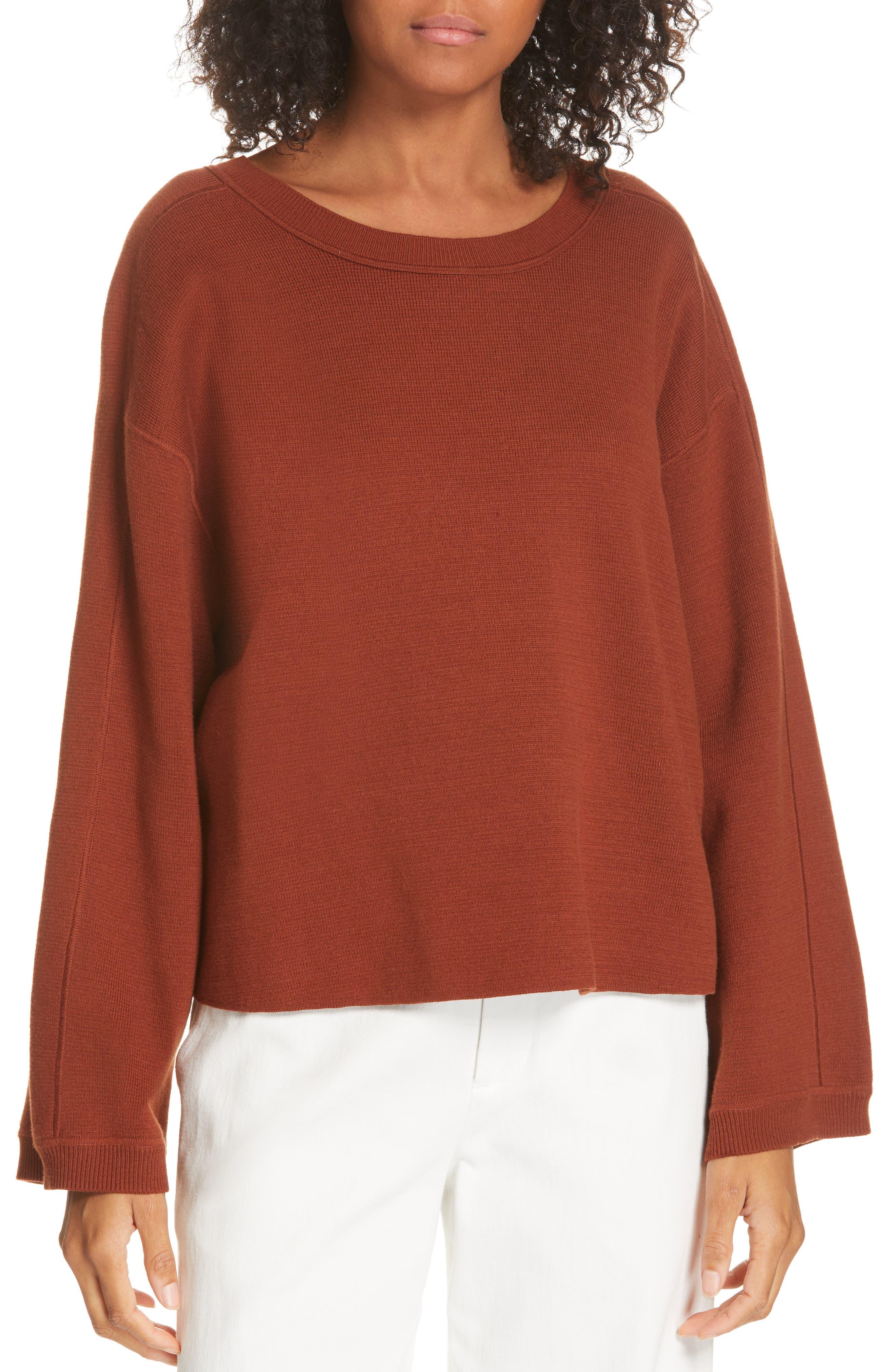 Cropped Sweater,                             Main thumbnail 1, color,                             CANYON OAK