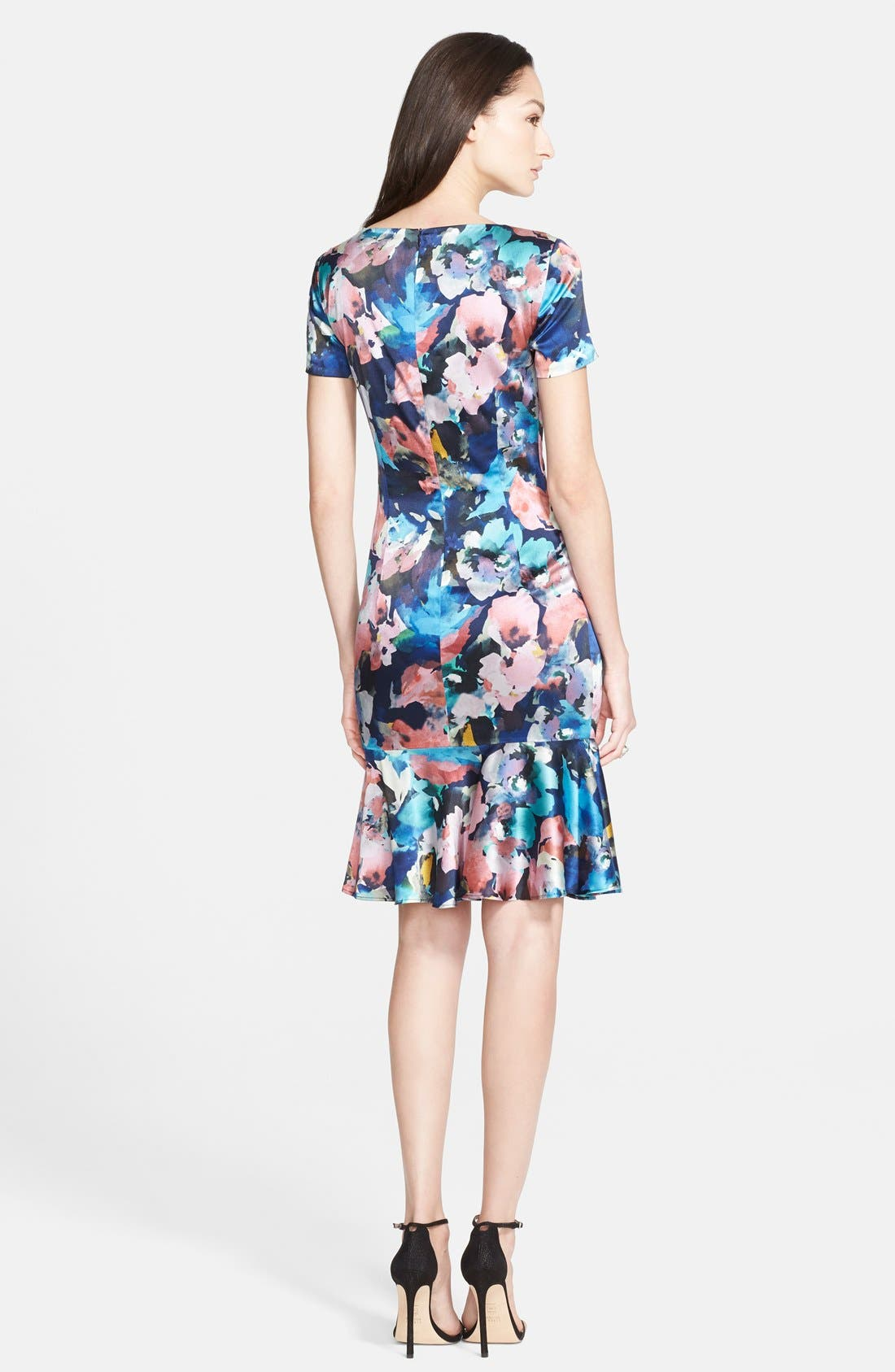 ST. JOHN COLLECTION,                             Collage Floral Print Stretch Silk Charmeuse Dress,                             Alternate thumbnail 3, color,                             020