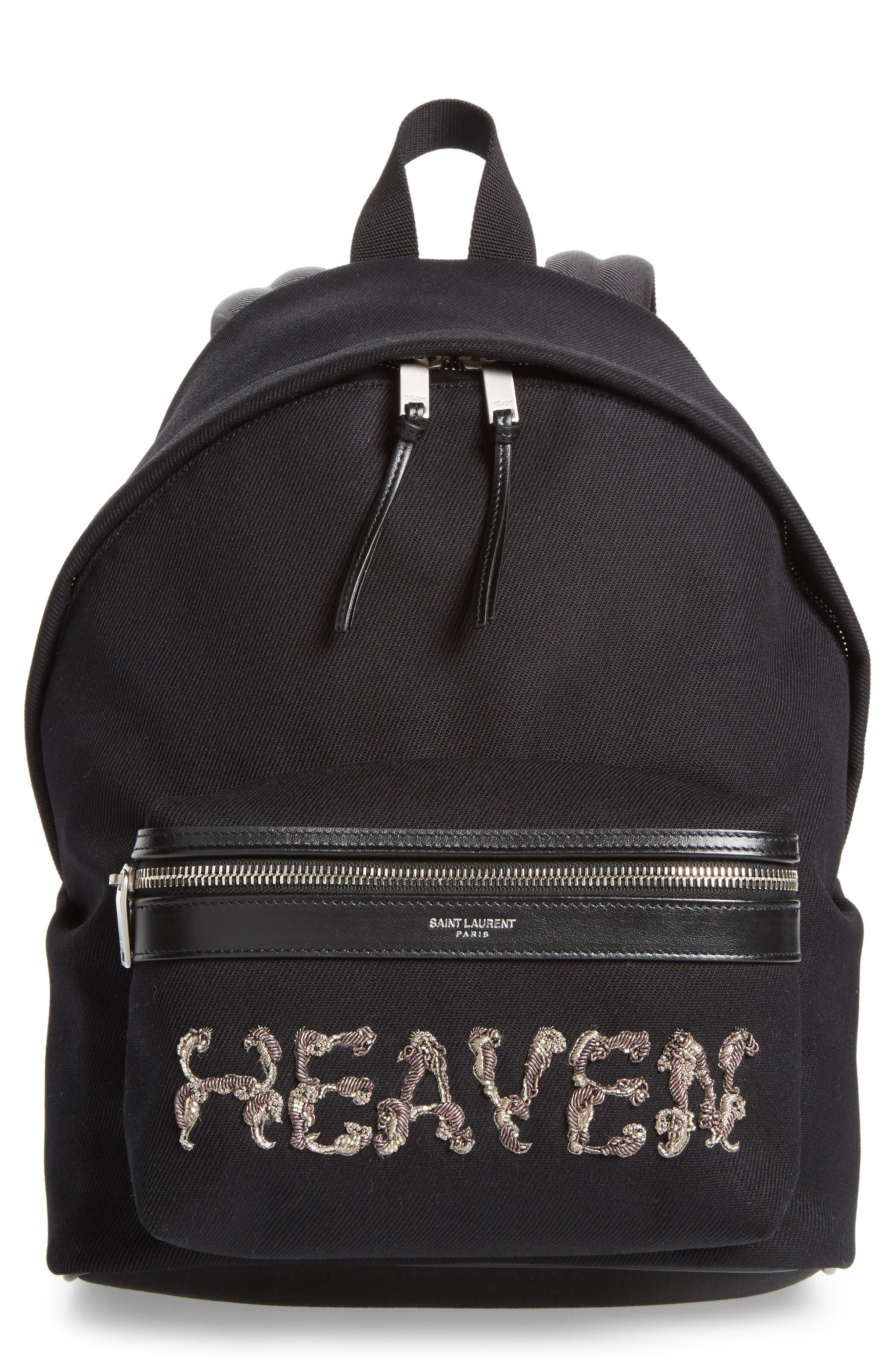 Mini City Logo Canvas Backpack,                         Main,                         color, NOIR