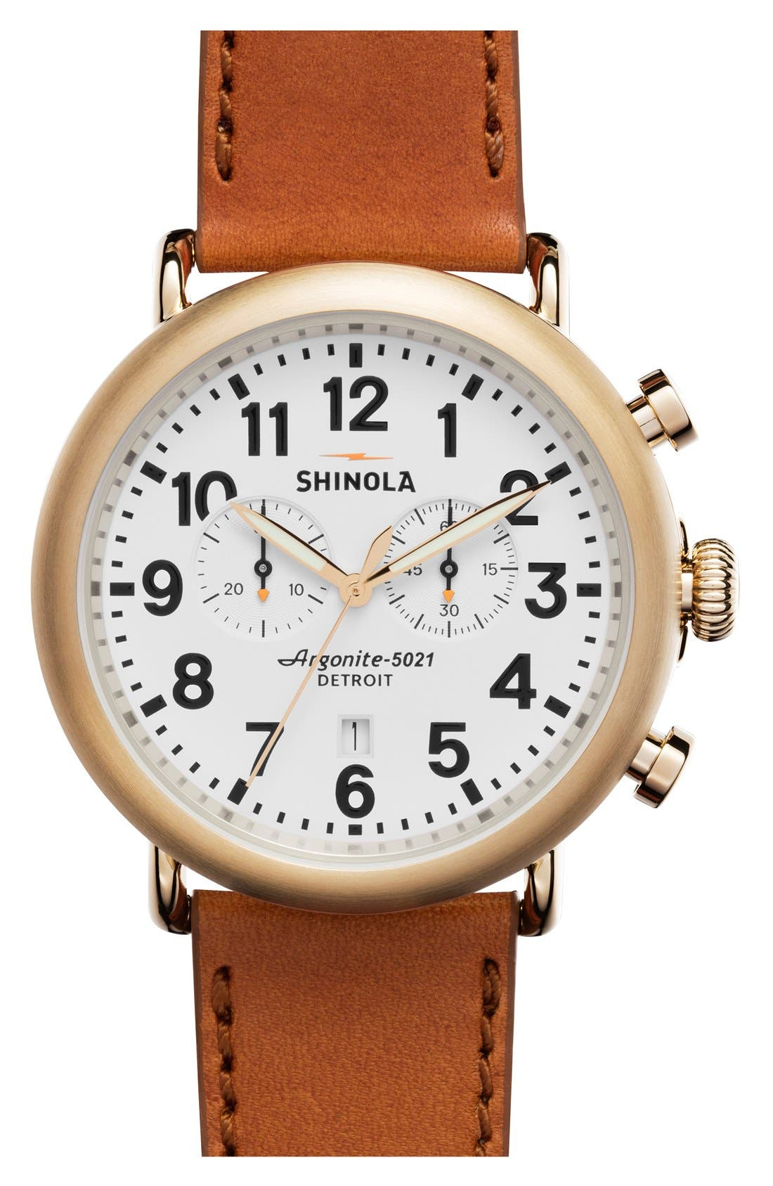 The Runwell Chrono Leather Strap Watch, 47mm,                             Main thumbnail 12, color,