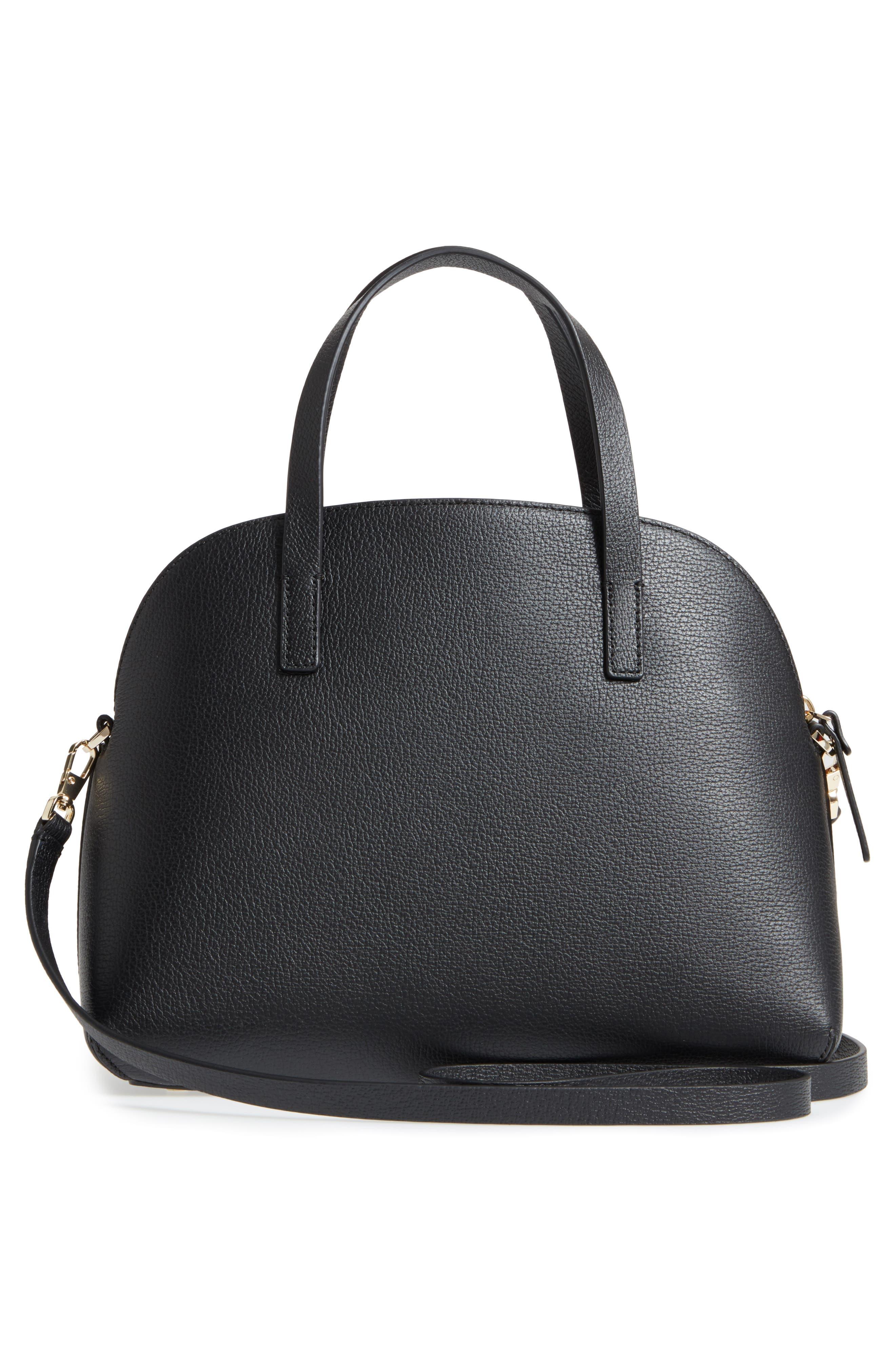 KATE SPADE NEW YORK,                             olive drive lottie leather satchel,                             Alternate thumbnail 3, color,                             001