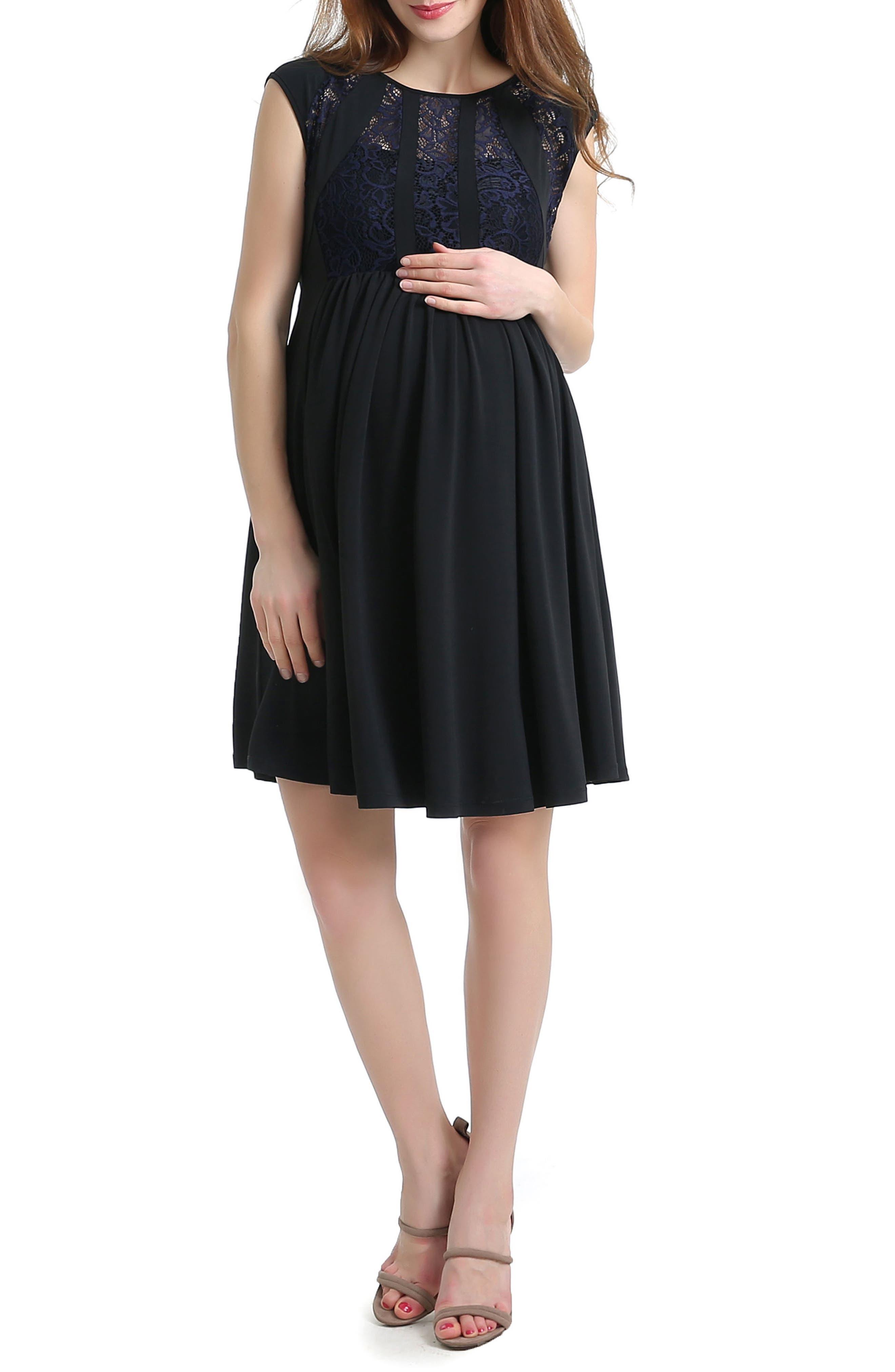 Lara Lace Trim Maternity Dress,                             Main thumbnail 1, color,                             001