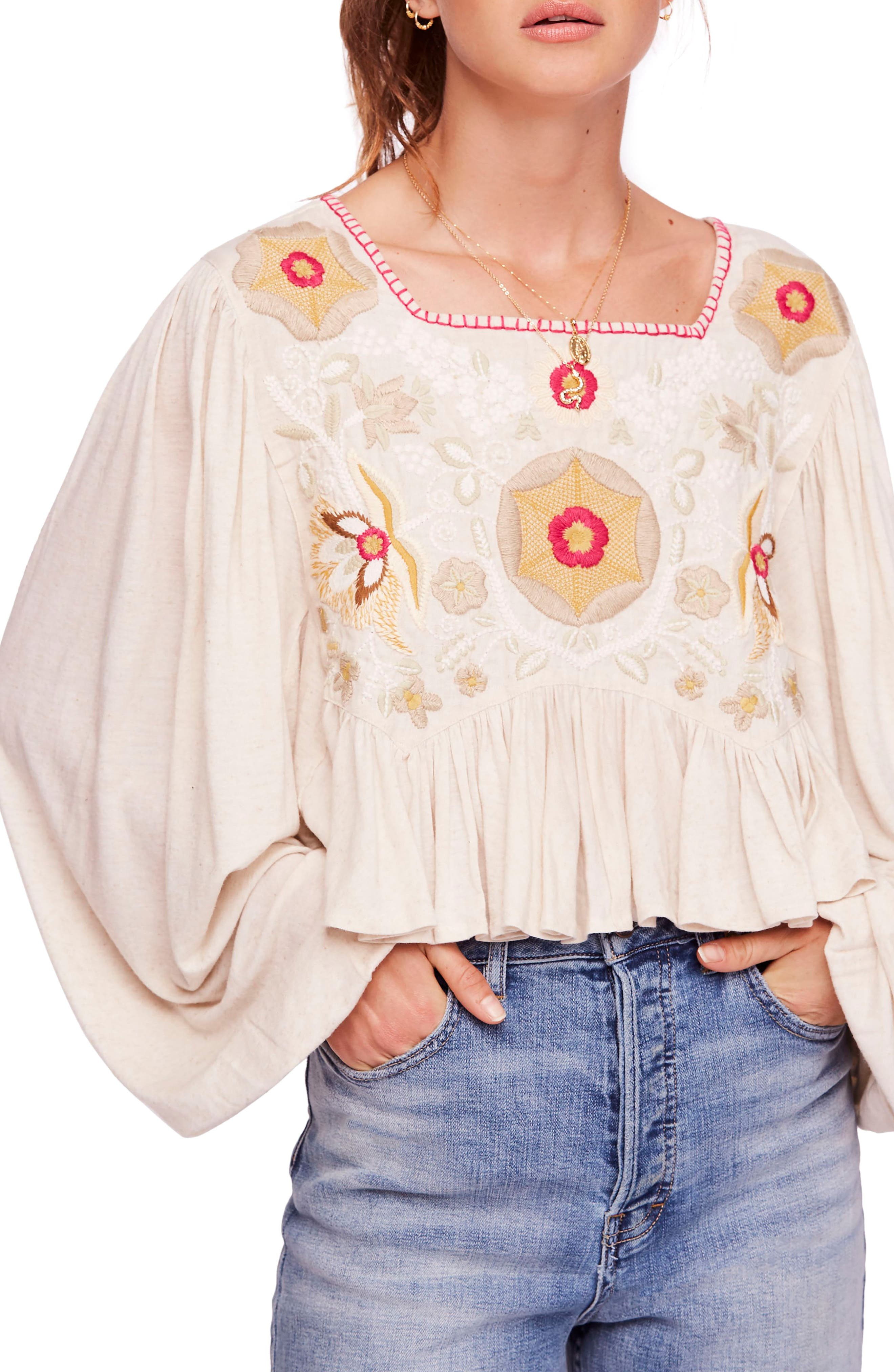 Claudine Embroidered Top in Nude
