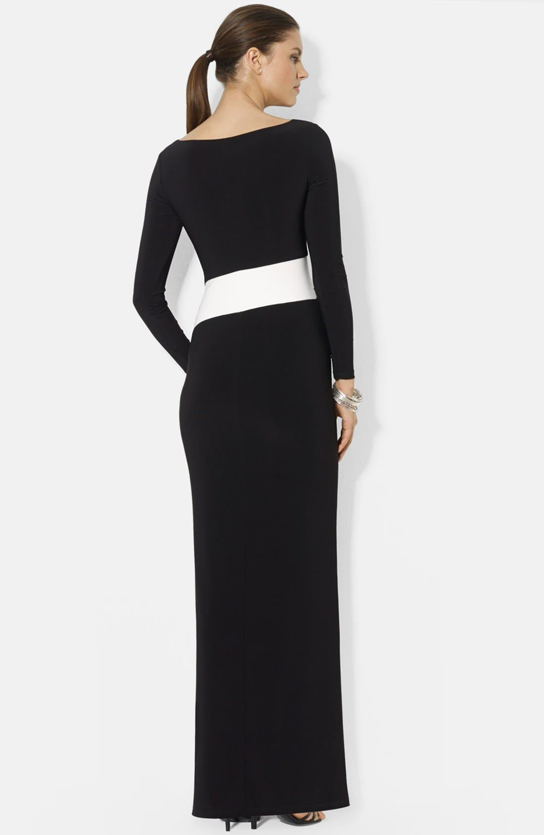 Two-Tone Long Sleeve Jersey Gown,                             Alternate thumbnail 3, color,                             015