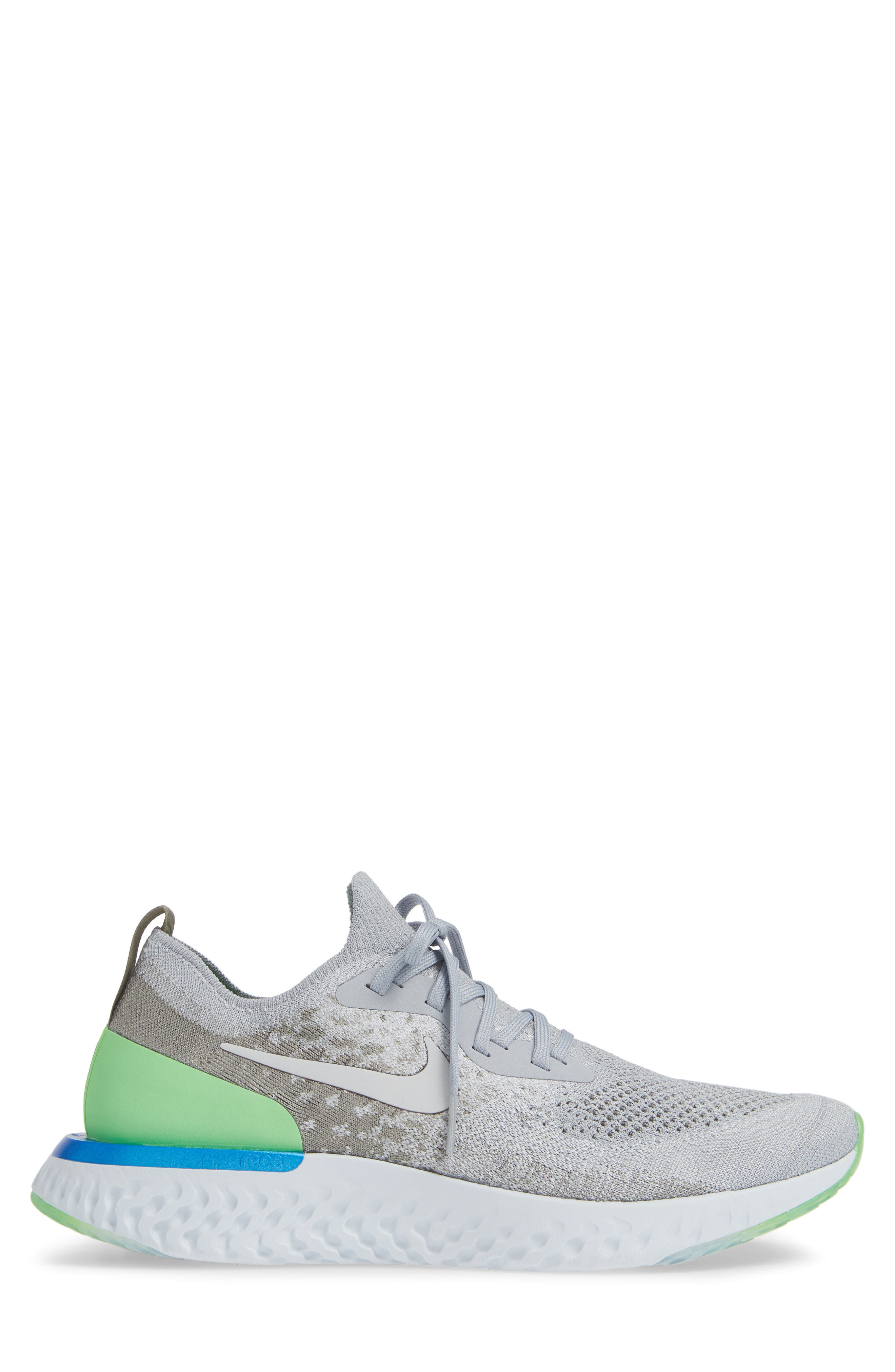 Epic React Flyknit Running Shoe,                             Alternate thumbnail 3, color,                             GREY