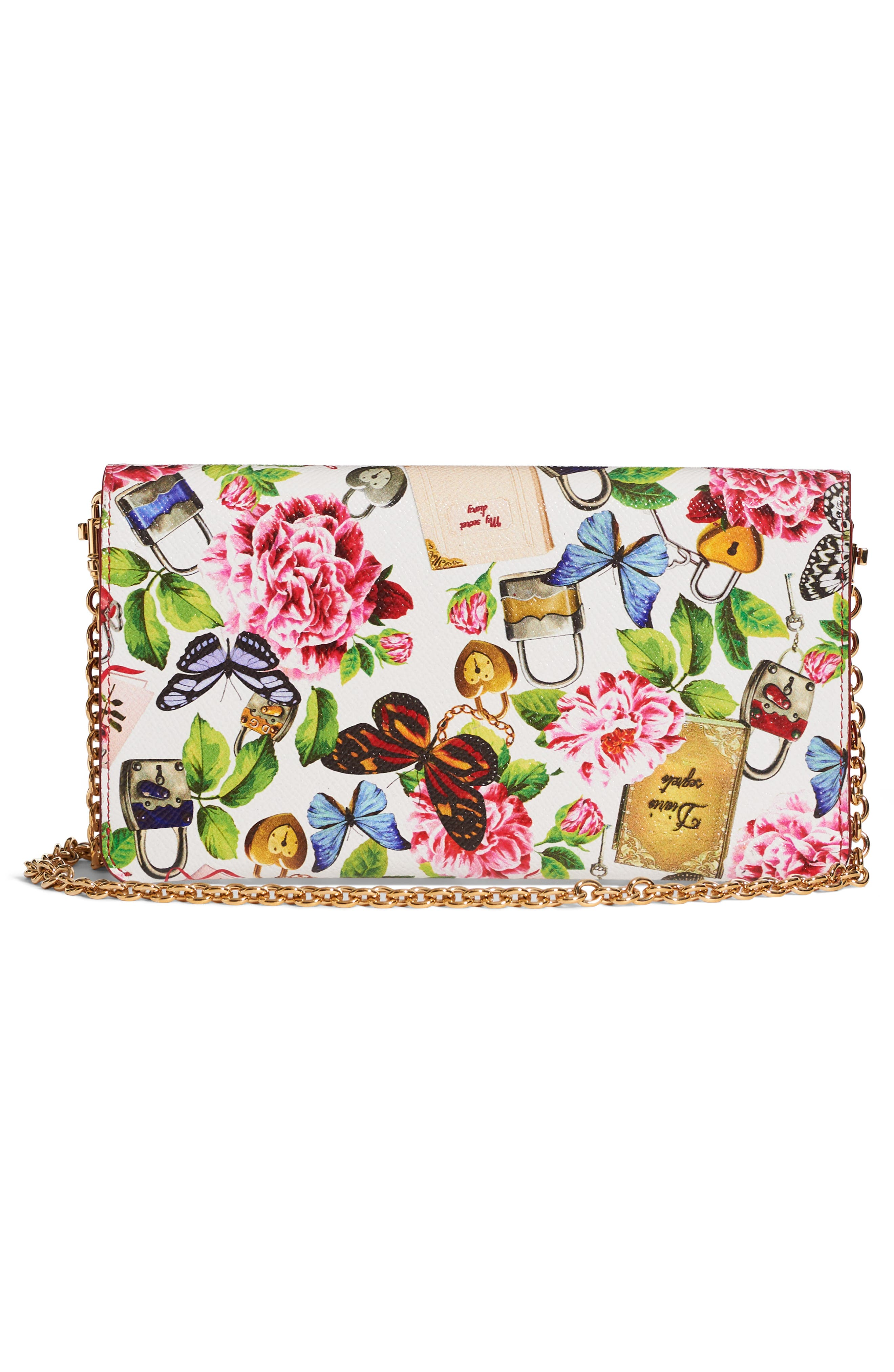 Floral Print Leather Wallet on a Chain,                             Alternate thumbnail 2, color,