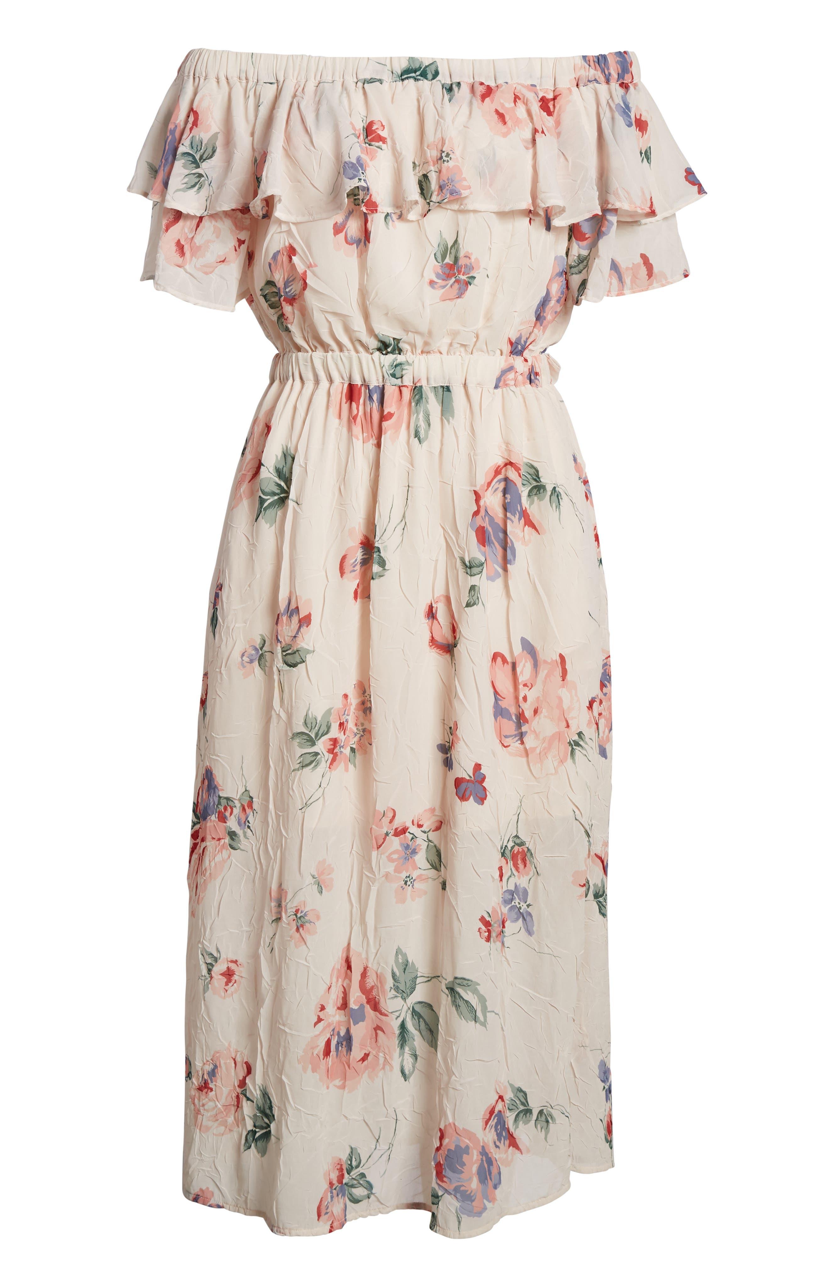 Off the Shoulder Floral Midi Dress,                             Alternate thumbnail 6, color,                             950