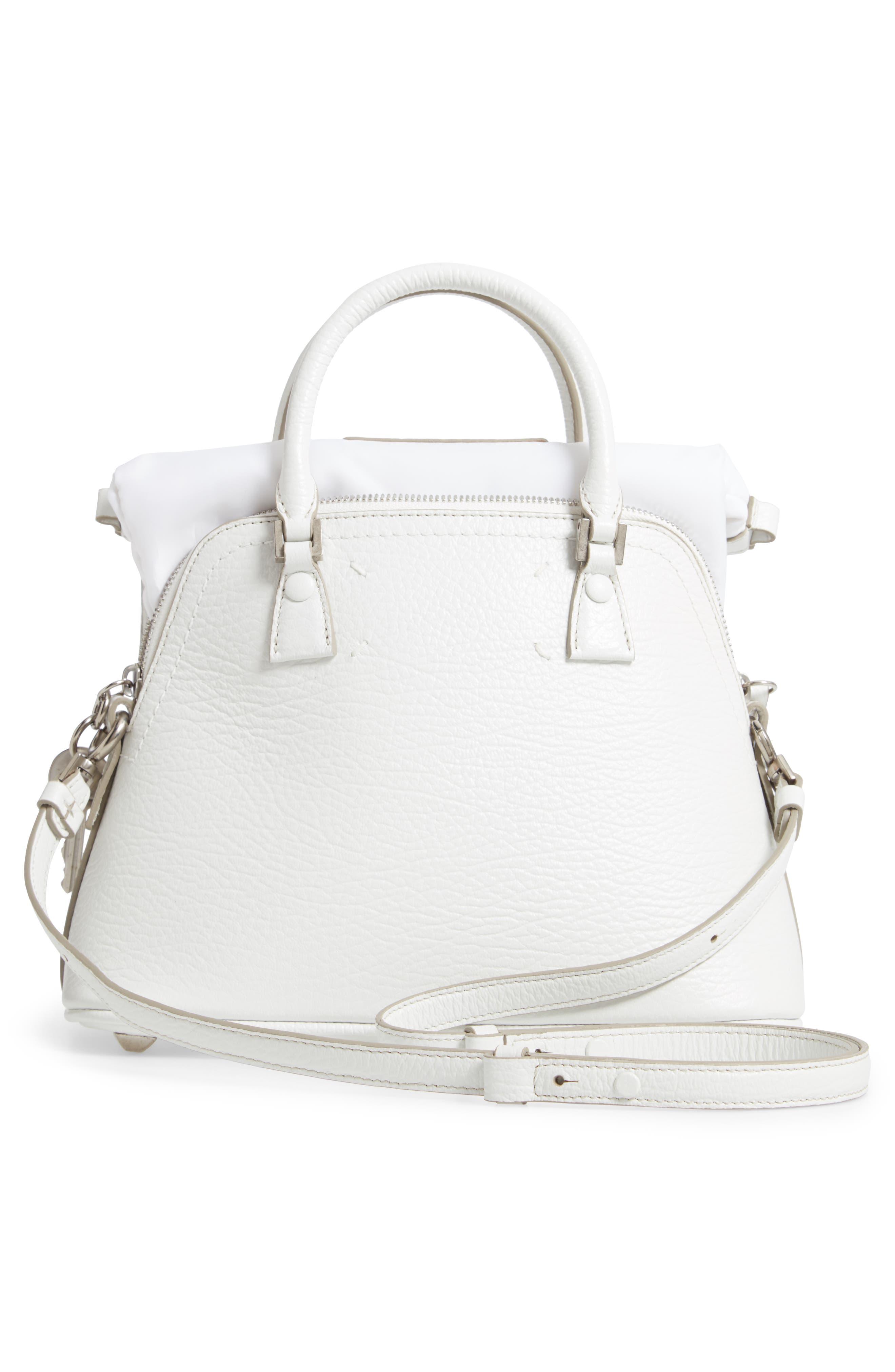 Small 5AC Calfskin Leather Handbag,                             Alternate thumbnail 4, color,                             WHITE