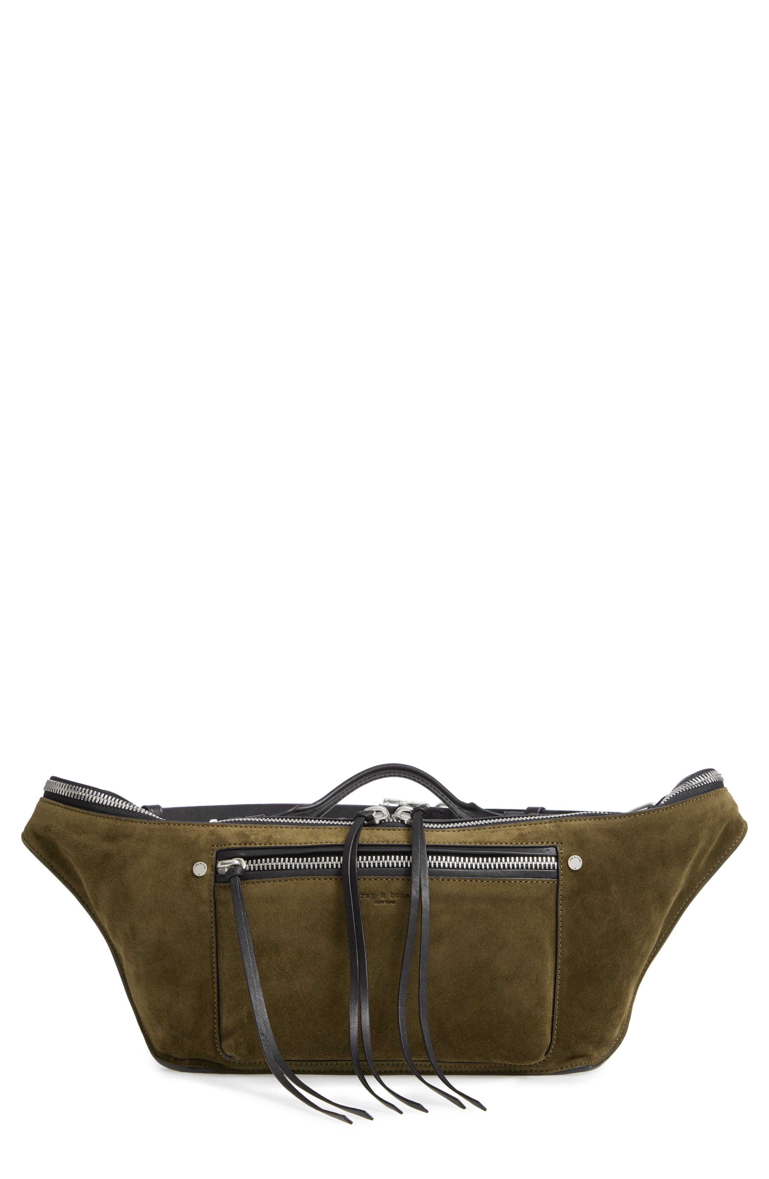 Large Elliot Genuine Calf Hair Fanny Pack,                         Main,                         color, OLIVE SUEDE