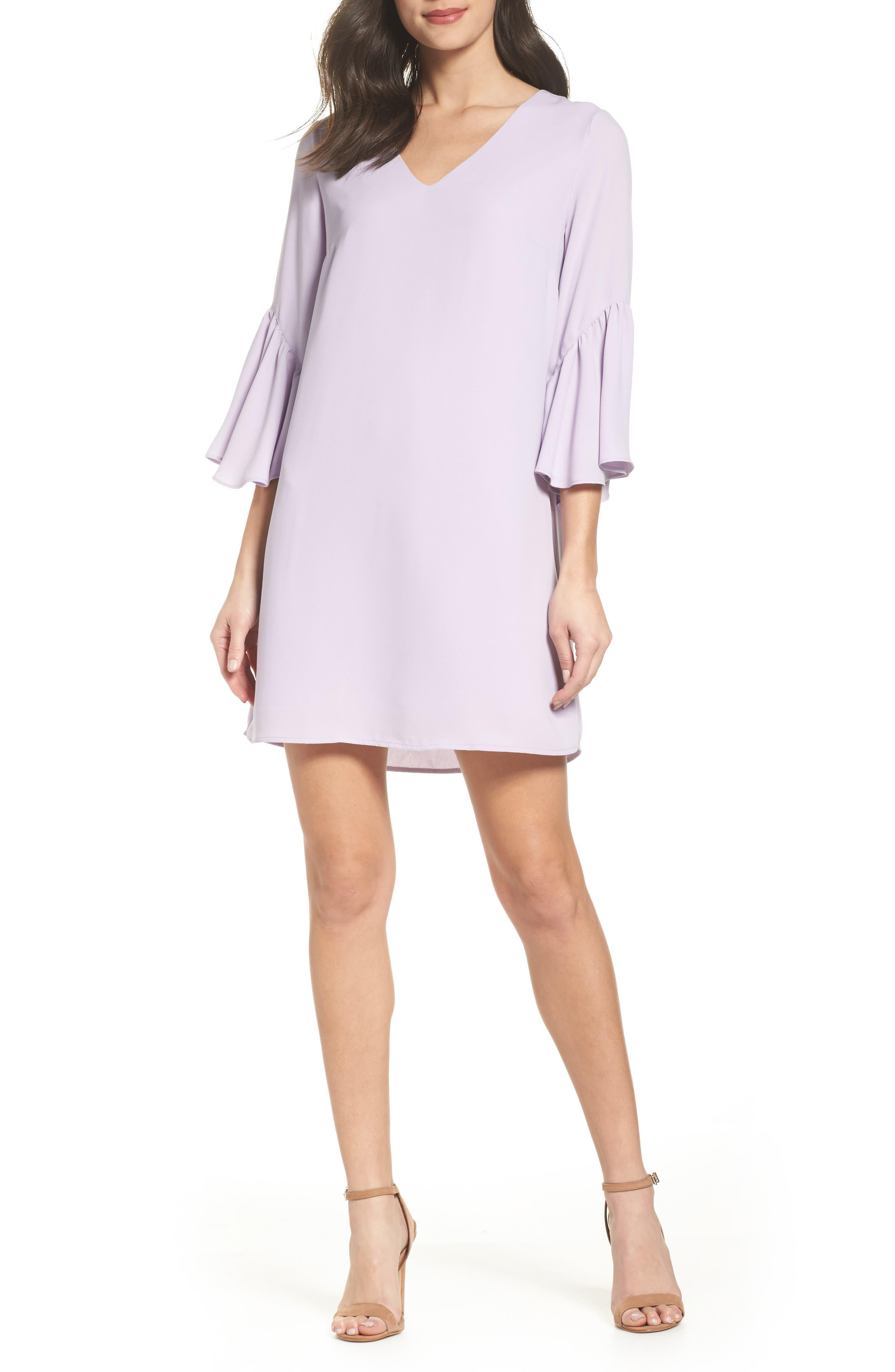Bell Sleeve Shift Dress,                             Main thumbnail 3, color,