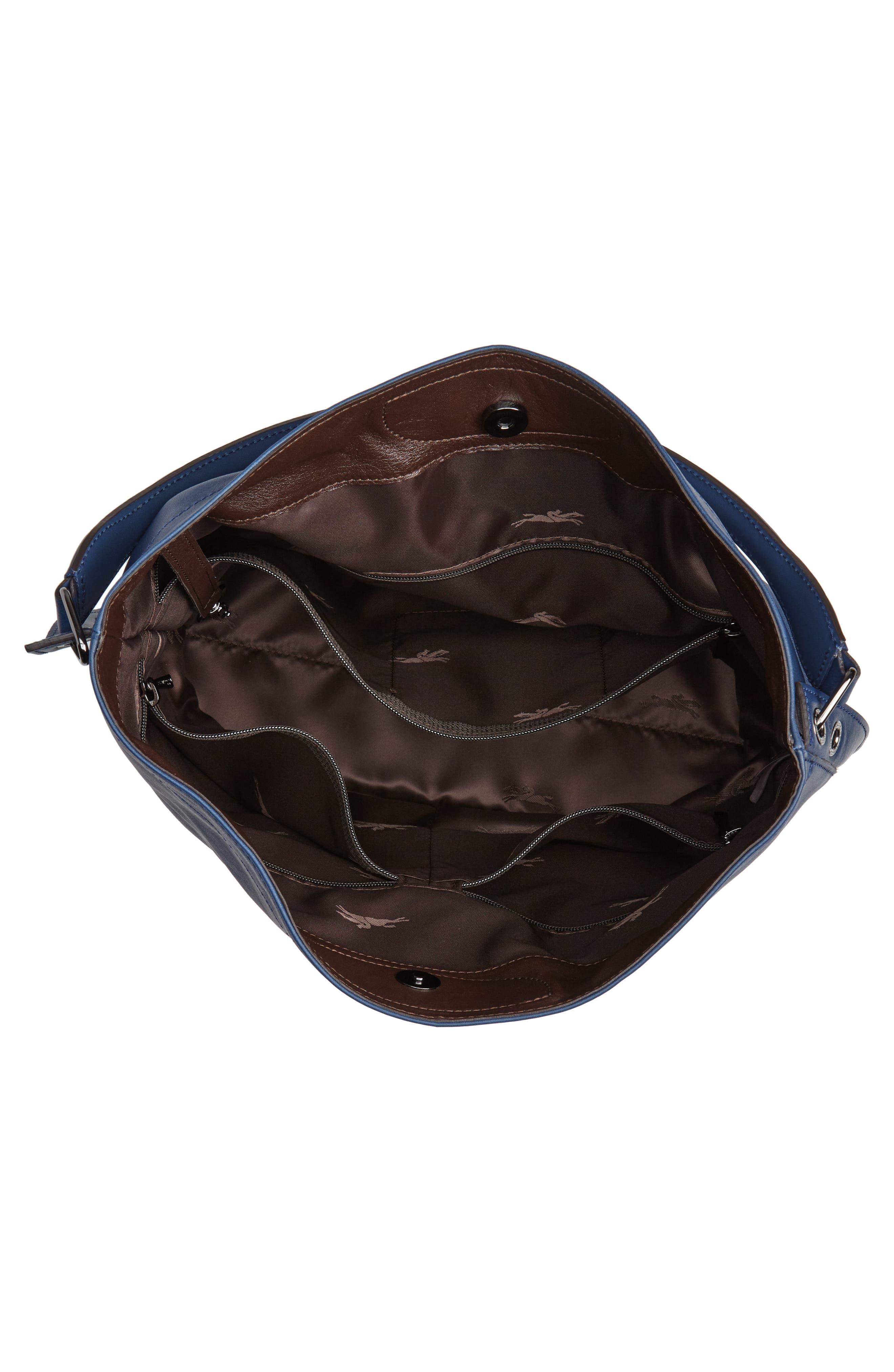 '3D' Leather Hobo,                             Alternate thumbnail 4, color,                             PILOT BLUE