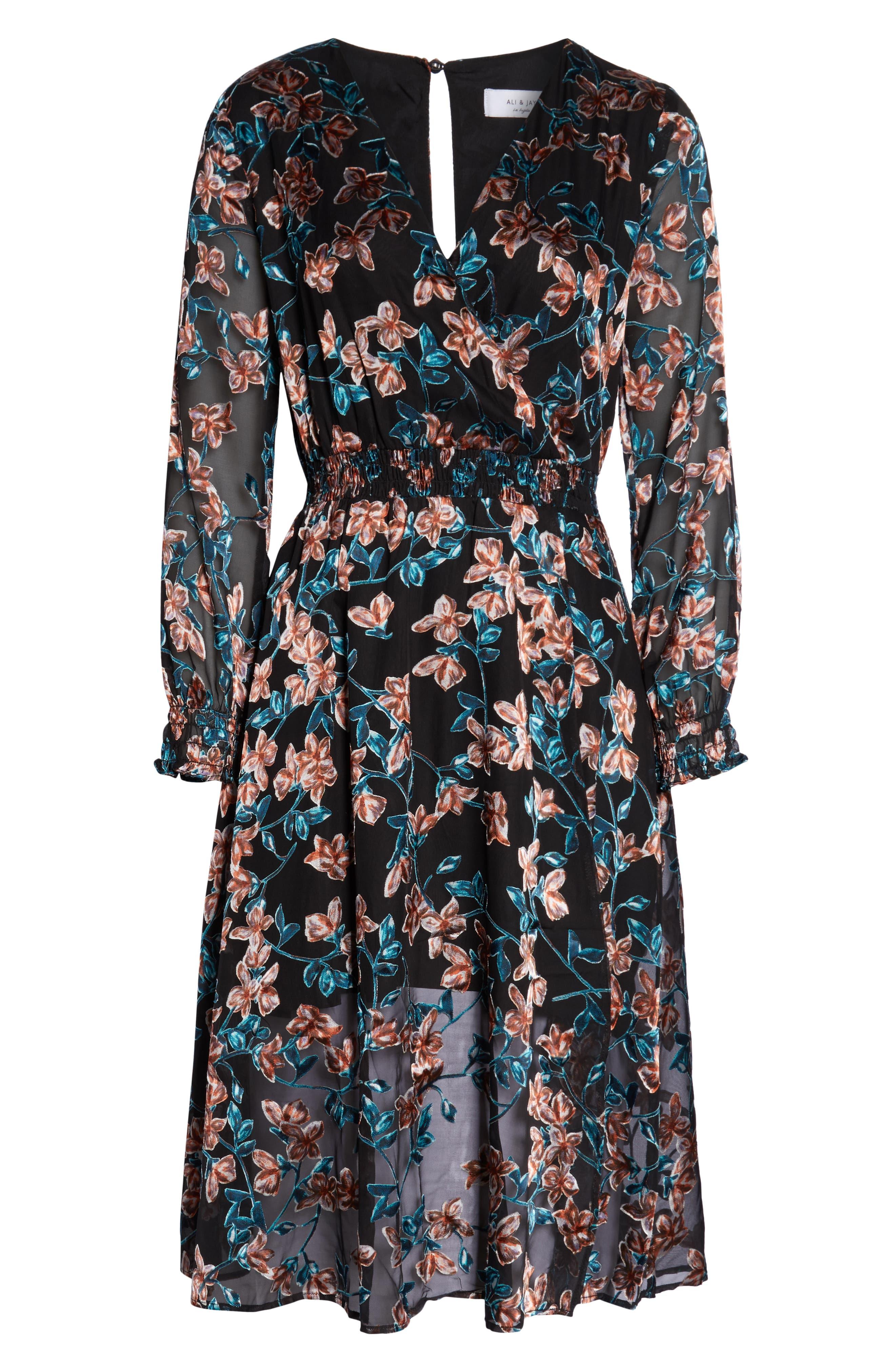 ALI & JAY,                             Treat Me Like a Lady Floral Dress,                             Alternate thumbnail 7, color,                             FLORAL BURNOUT
