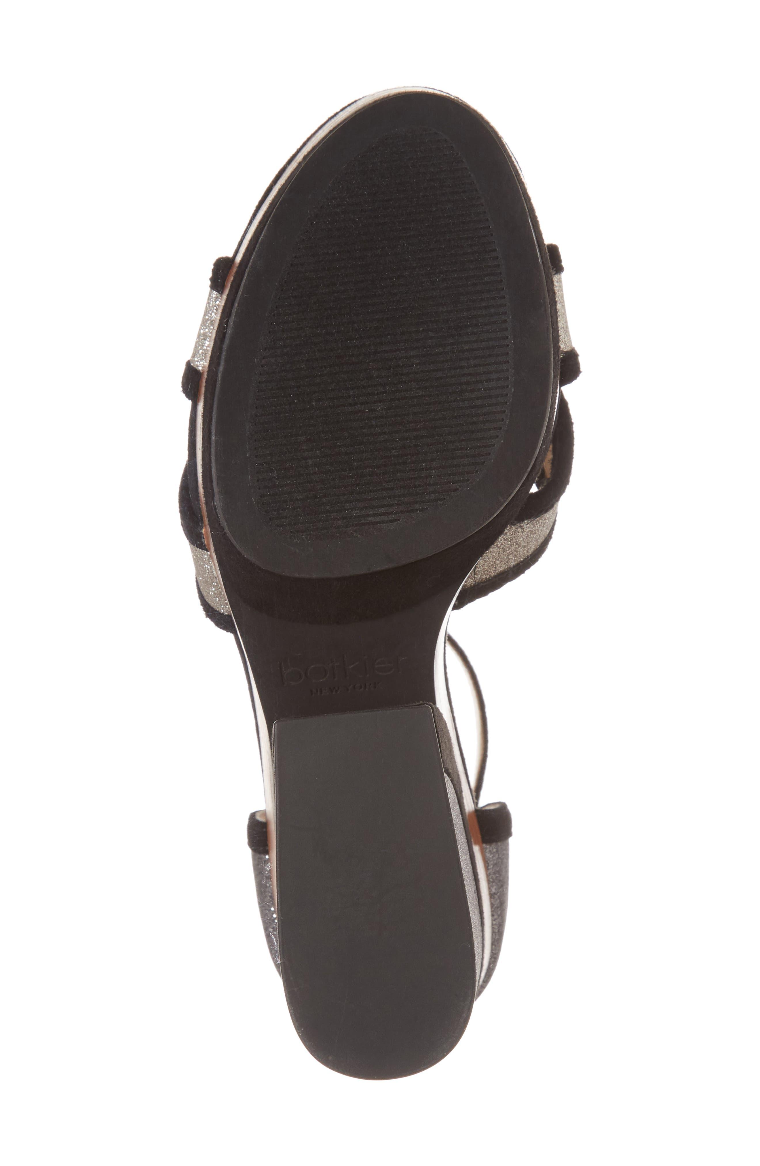Paloma Ankle Strap Sandal,                             Alternate thumbnail 6, color,                             GUNMETAL GLITTER
