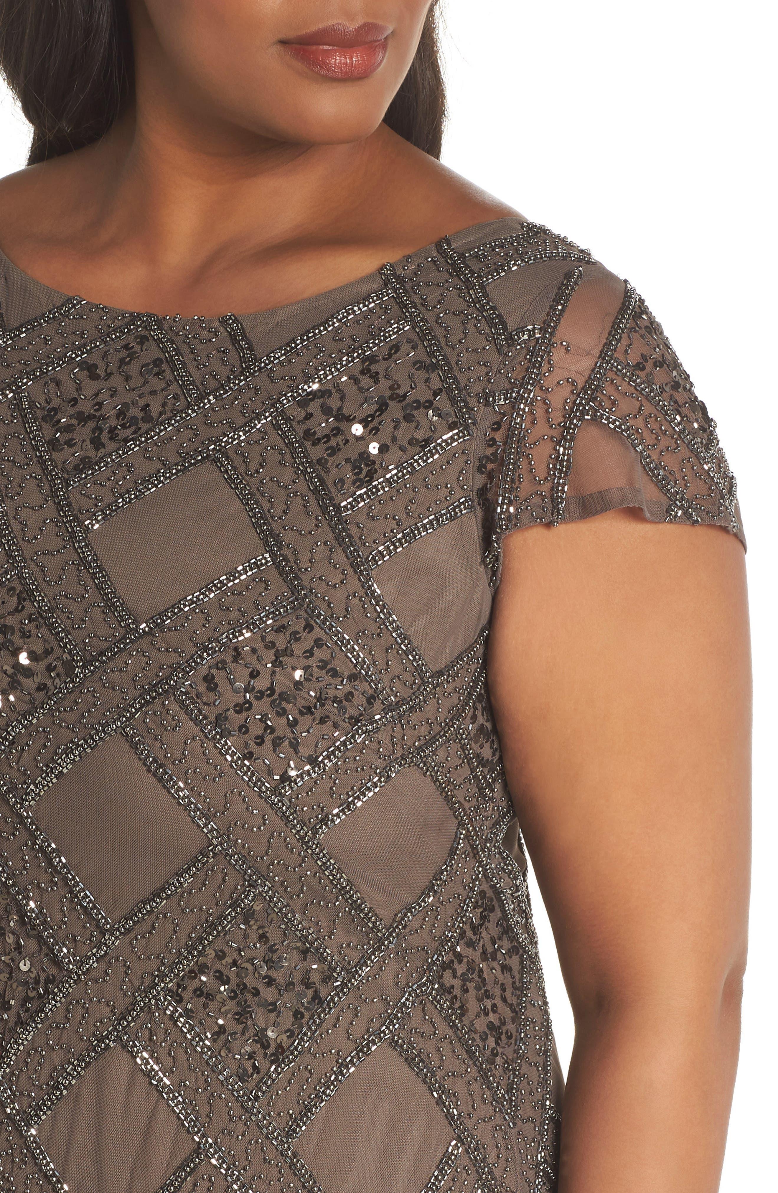 ADRIANNA PAPELL,                             Beaded Cap Sleeve Sheath Dress,                             Alternate thumbnail 4, color,                             050