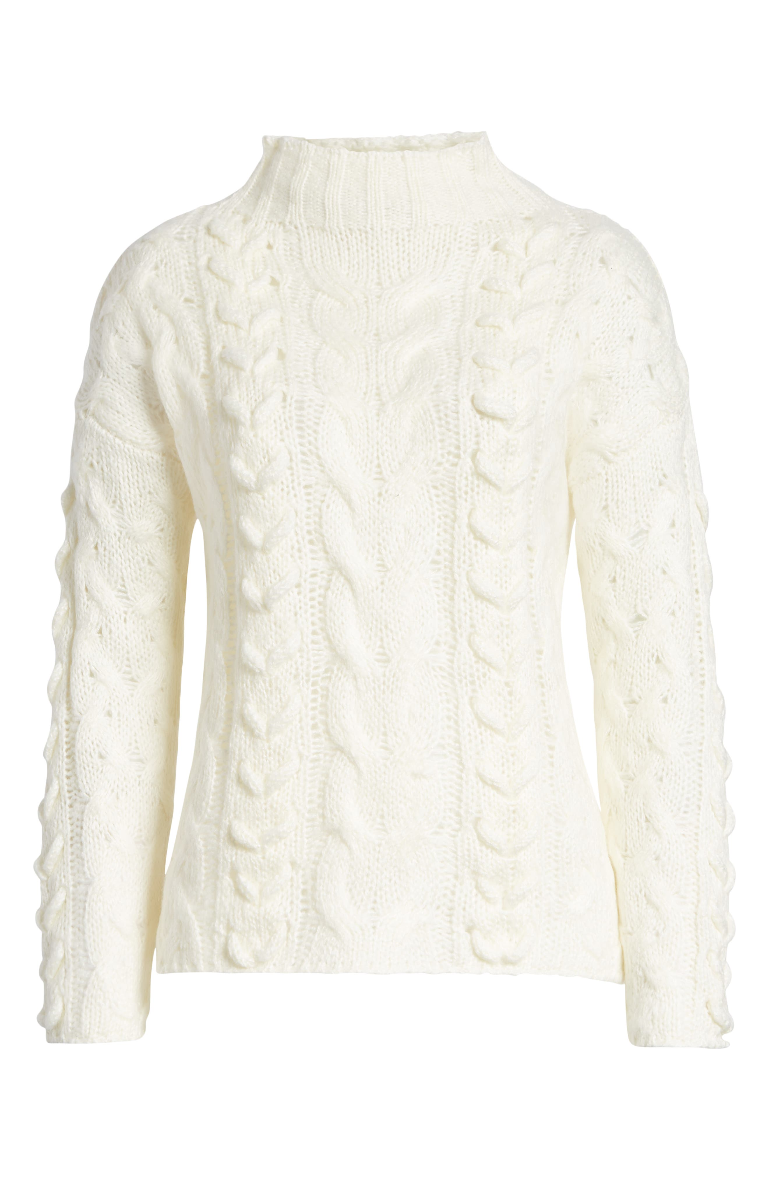 Braided Cable Knit Sweater,                             Alternate thumbnail 6, color,                             IVORY