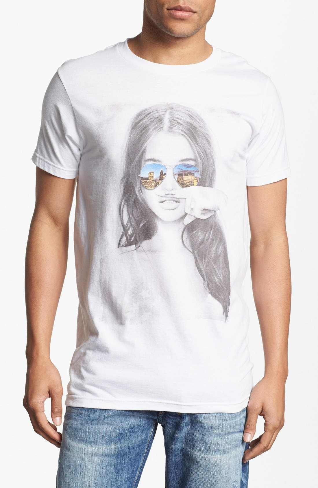 'Mustache Girl' Graphic T-Shirt, Main, color, 100