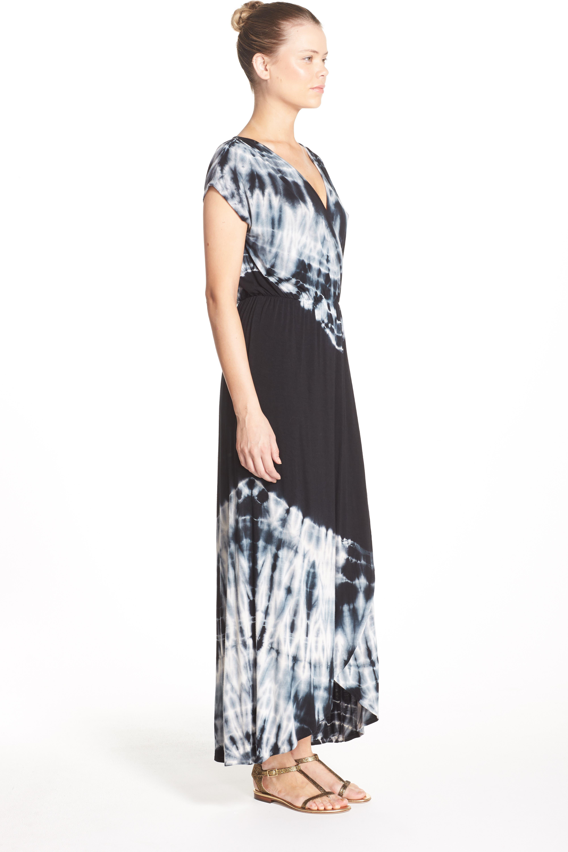 Tie Dye Faux Wrap Maxi Dress,                             Alternate thumbnail 2, color,                             001