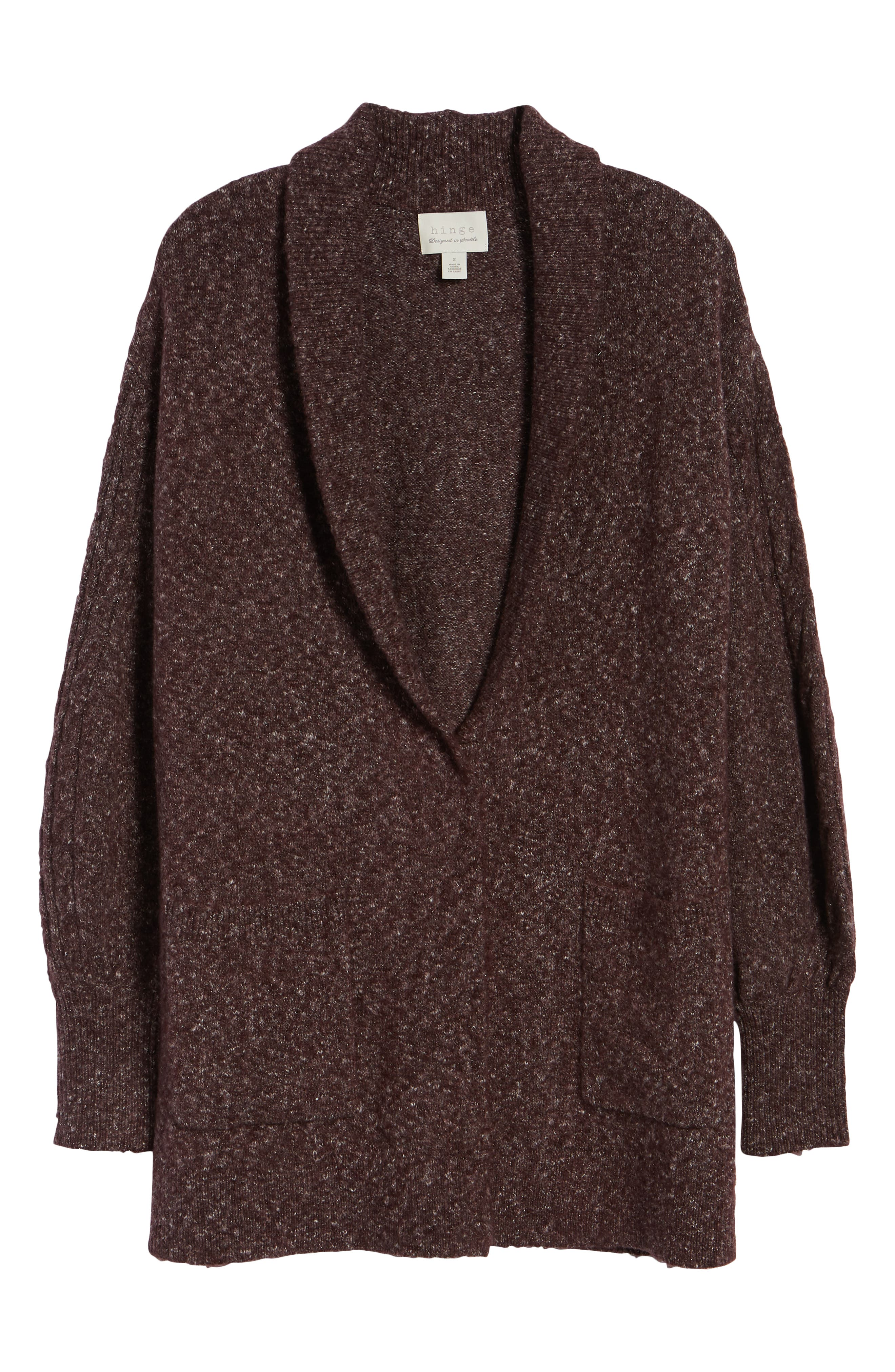 Longline Cardigan,                             Alternate thumbnail 6, color,                             BURGUNDY FUDGE