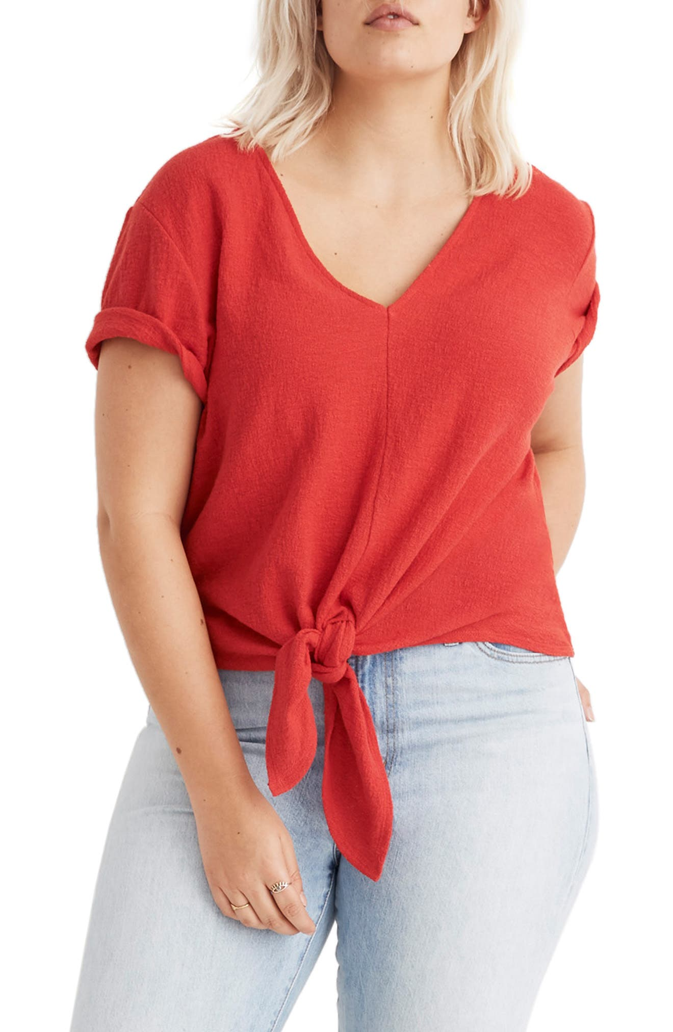 Texture & Thread V-Neck Modern Tie-Front Top,                             Alternate thumbnail 2, color,                             CRANBERRY