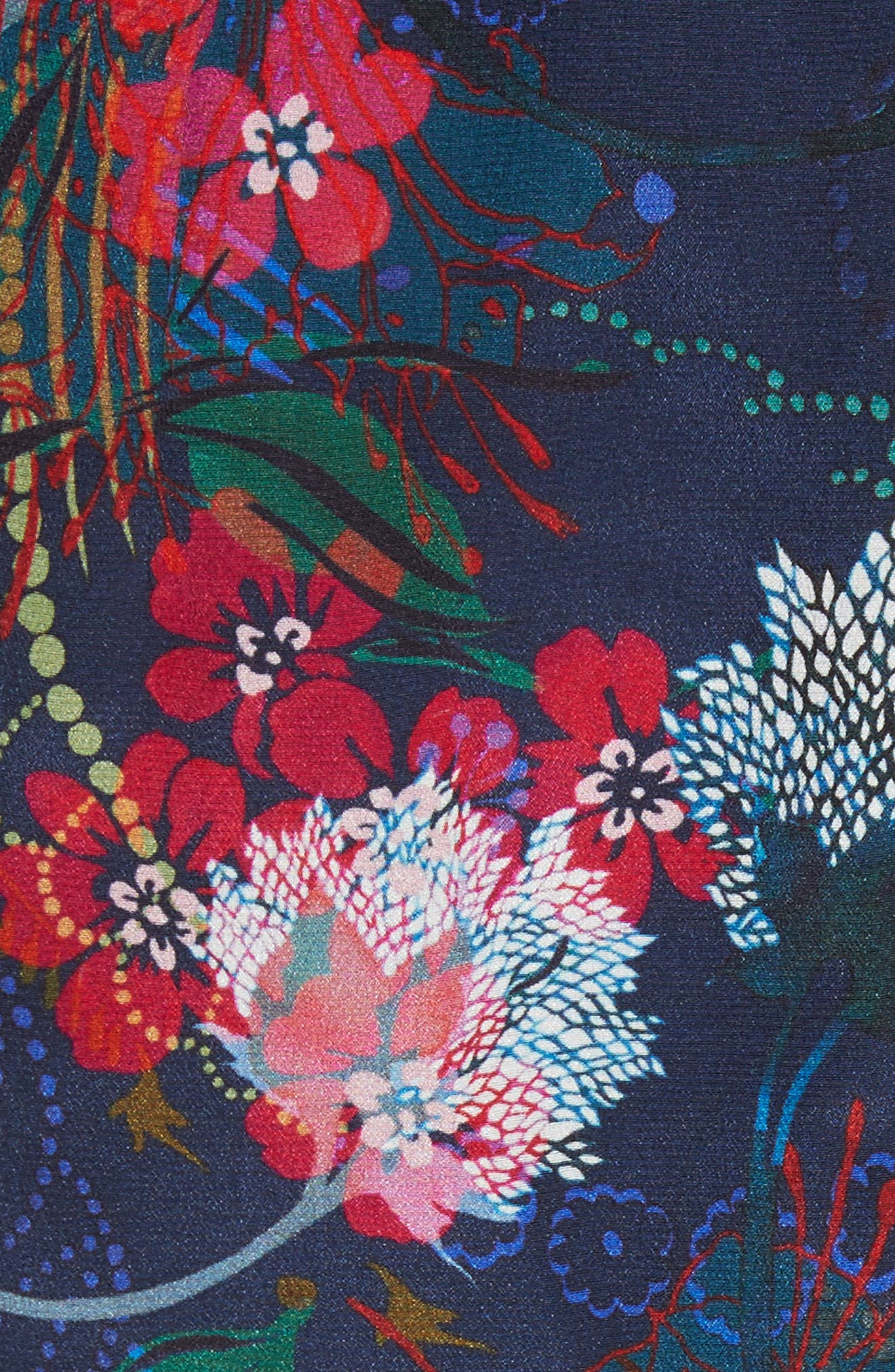 Grace Print Off the Shoulder Silk Dress,                             Alternate thumbnail 10, color,