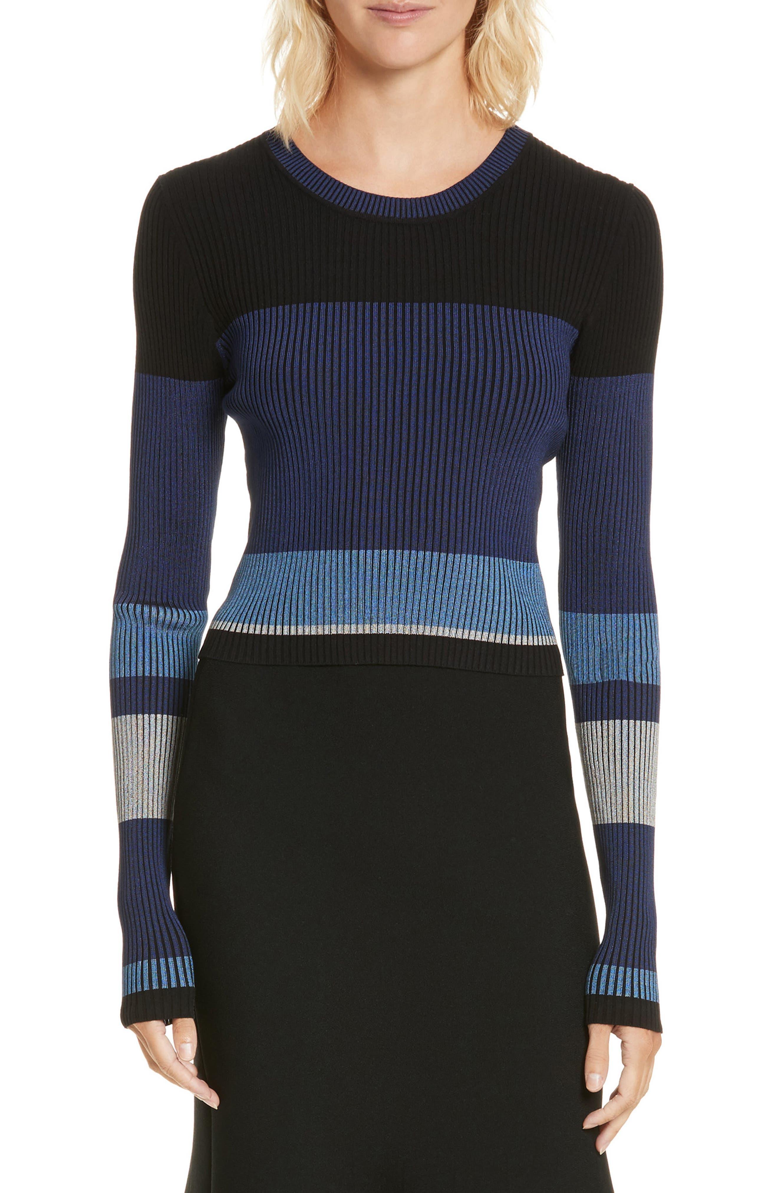 Diane von Furstenberg Cropped Plaited Pullover,                             Main thumbnail 2, color,
