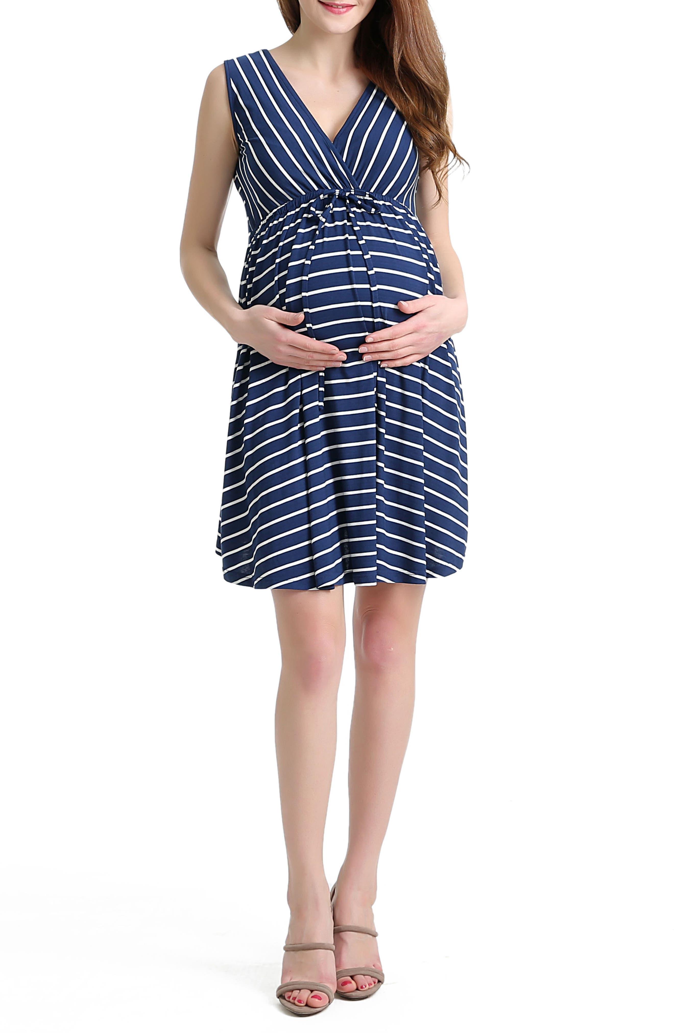 Nora Stripe Maternity Dress,                             Alternate thumbnail 4, color,                             400