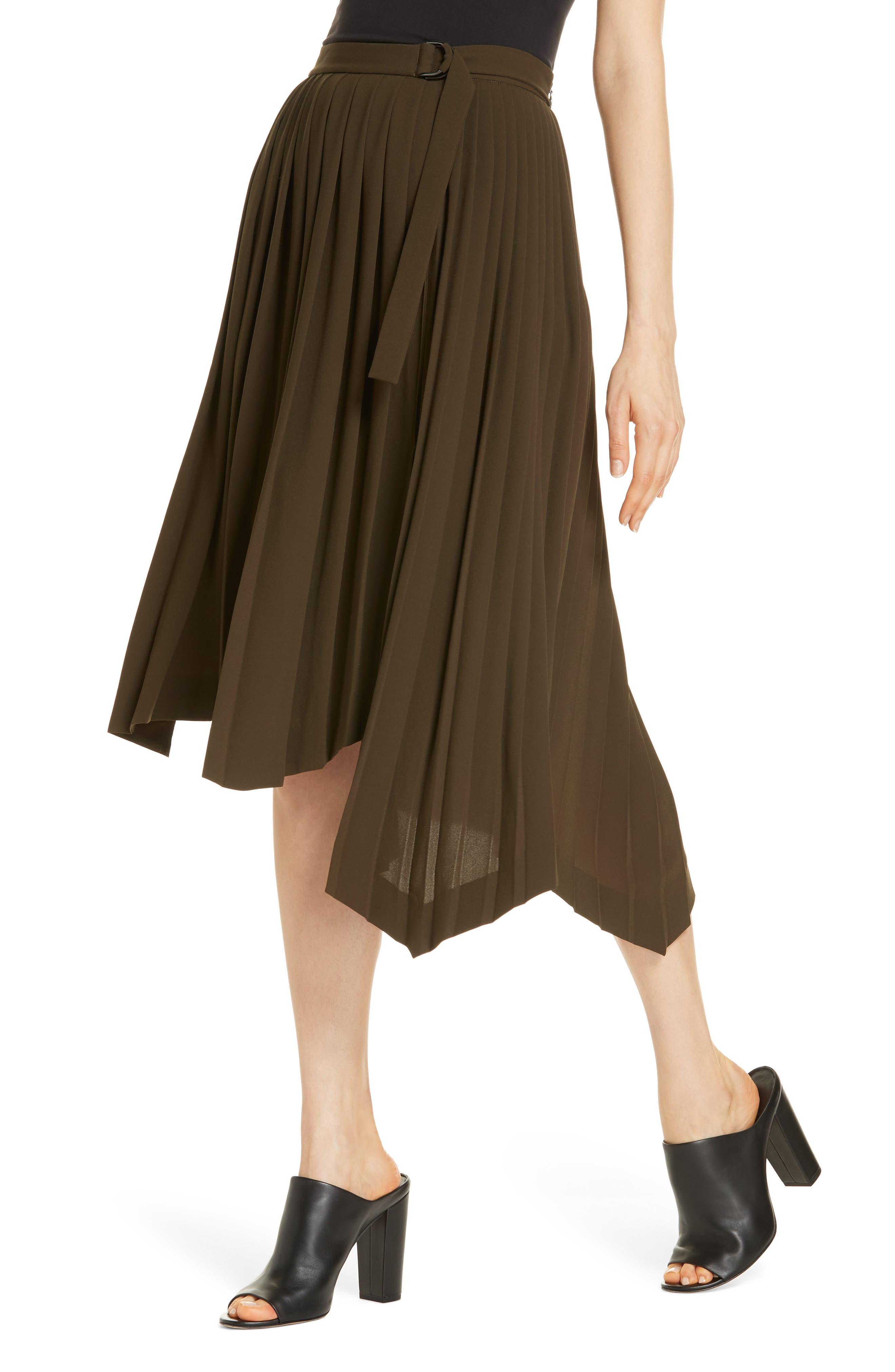 Asymmetrical Pleat A-Line Skirt,                             Alternate thumbnail 4, color,                             OLIVE TUSCAN