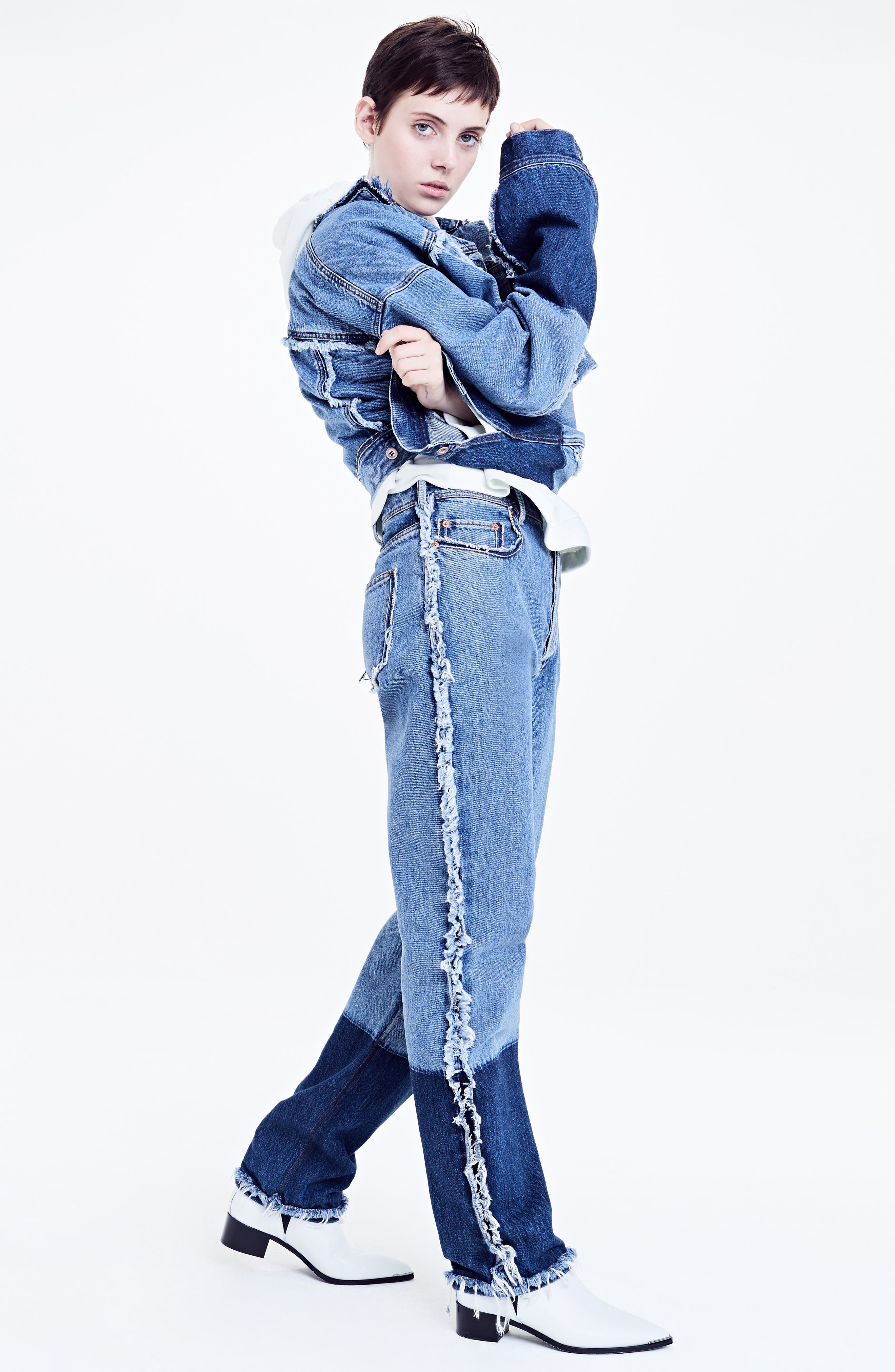 Mirja Frayed High Waist Straight Leg Jeans,                             Alternate thumbnail 7, color,                             400