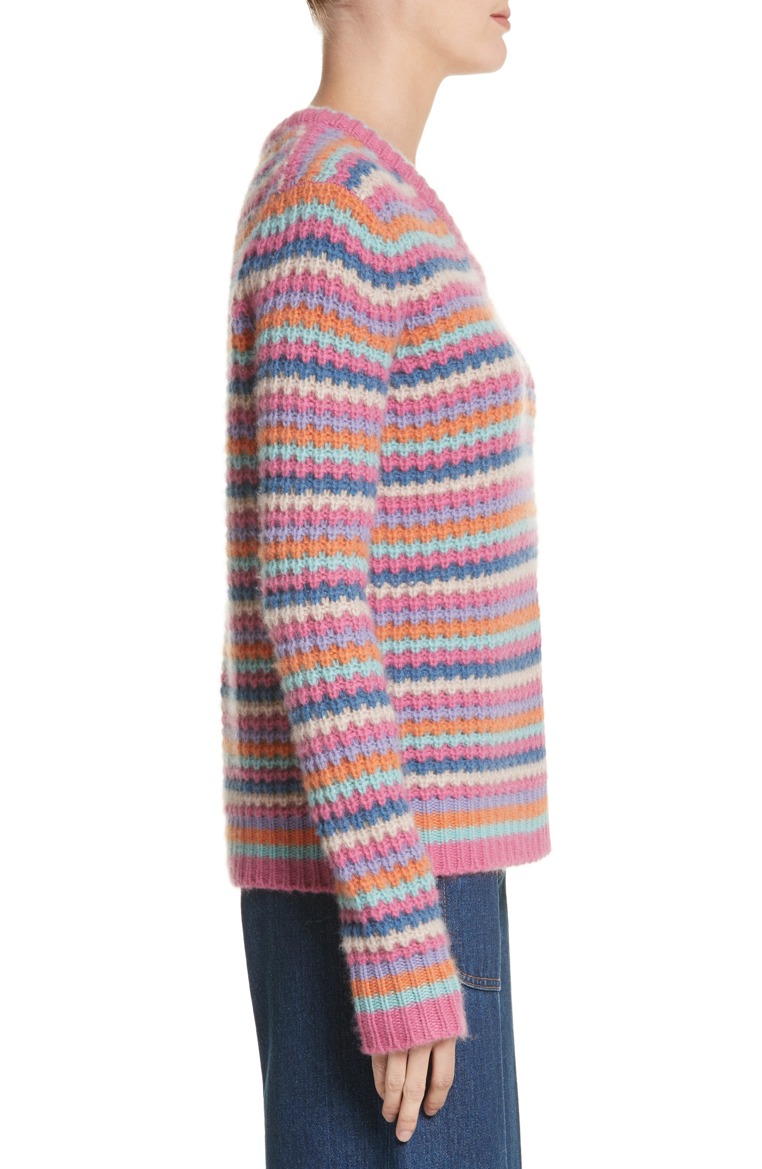 Stripe Cashmere Sweater,                             Alternate thumbnail 3, color,                             651