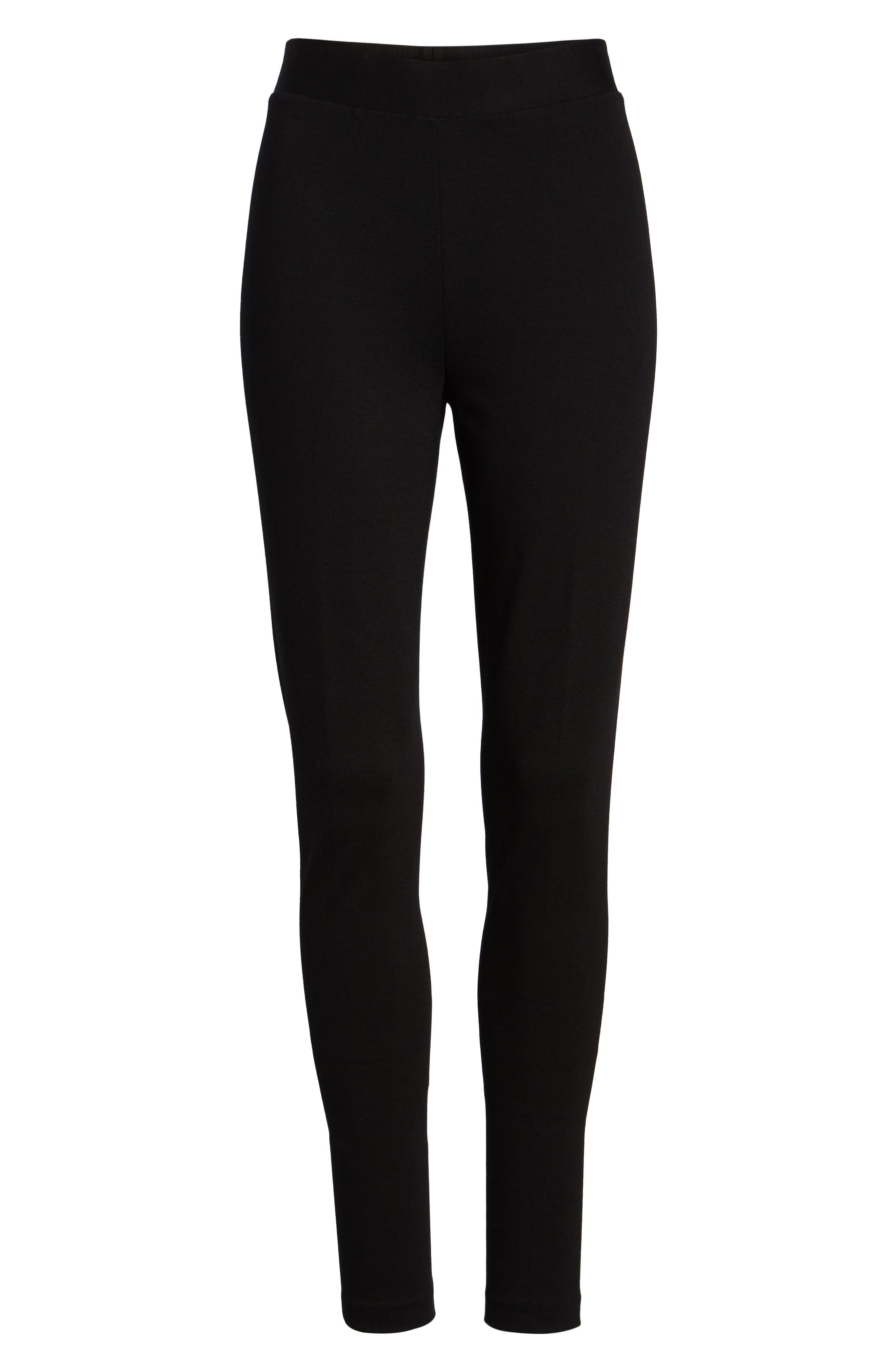 Two by Vince Camuto Seamed Back Leggings,                             Alternate thumbnail 6, color,                             RICH BLACK
