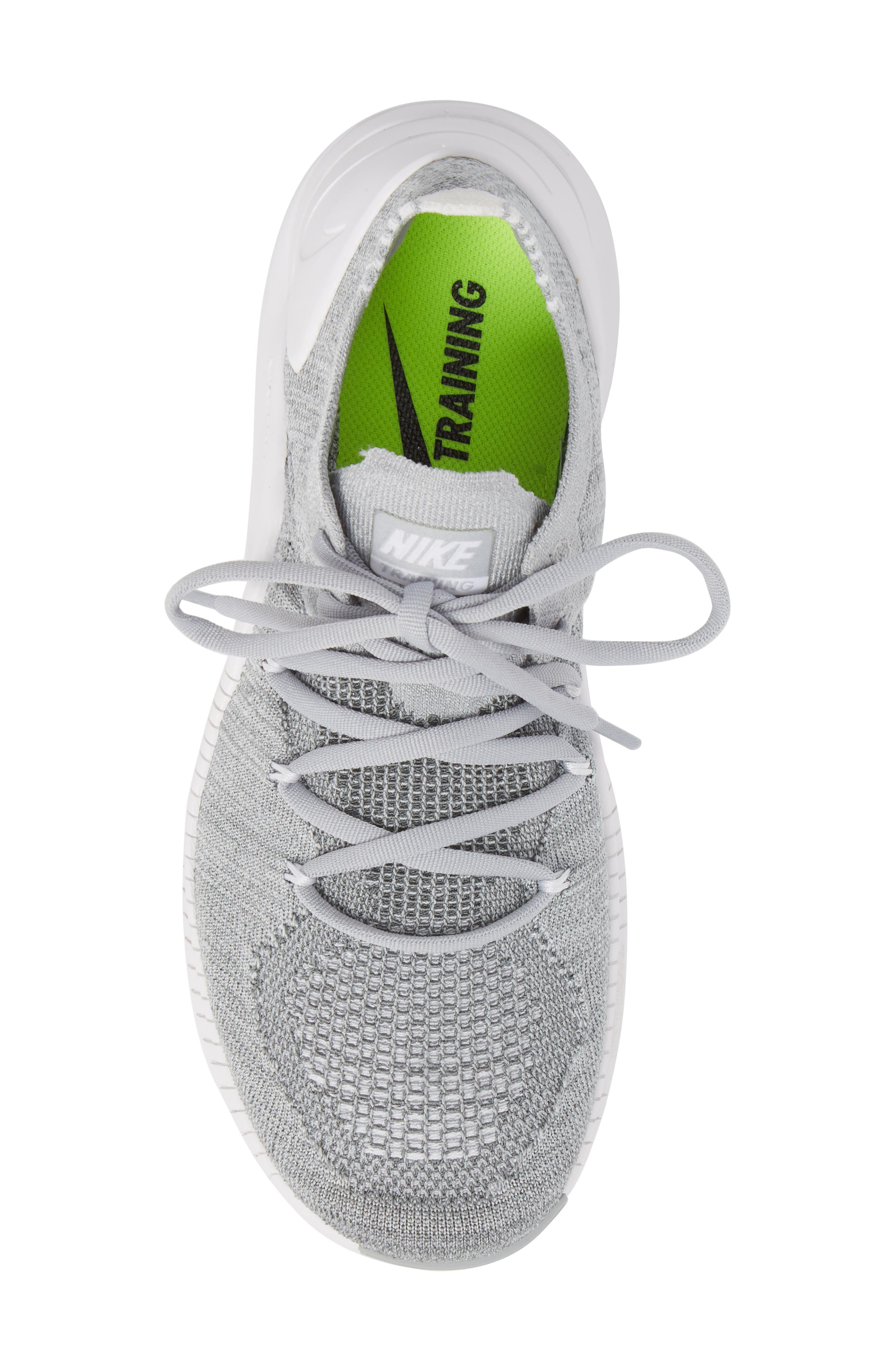 Free TR Flyknit 3 Training Shoe,                             Alternate thumbnail 5, color,                             WOLF GREY/ WHITE