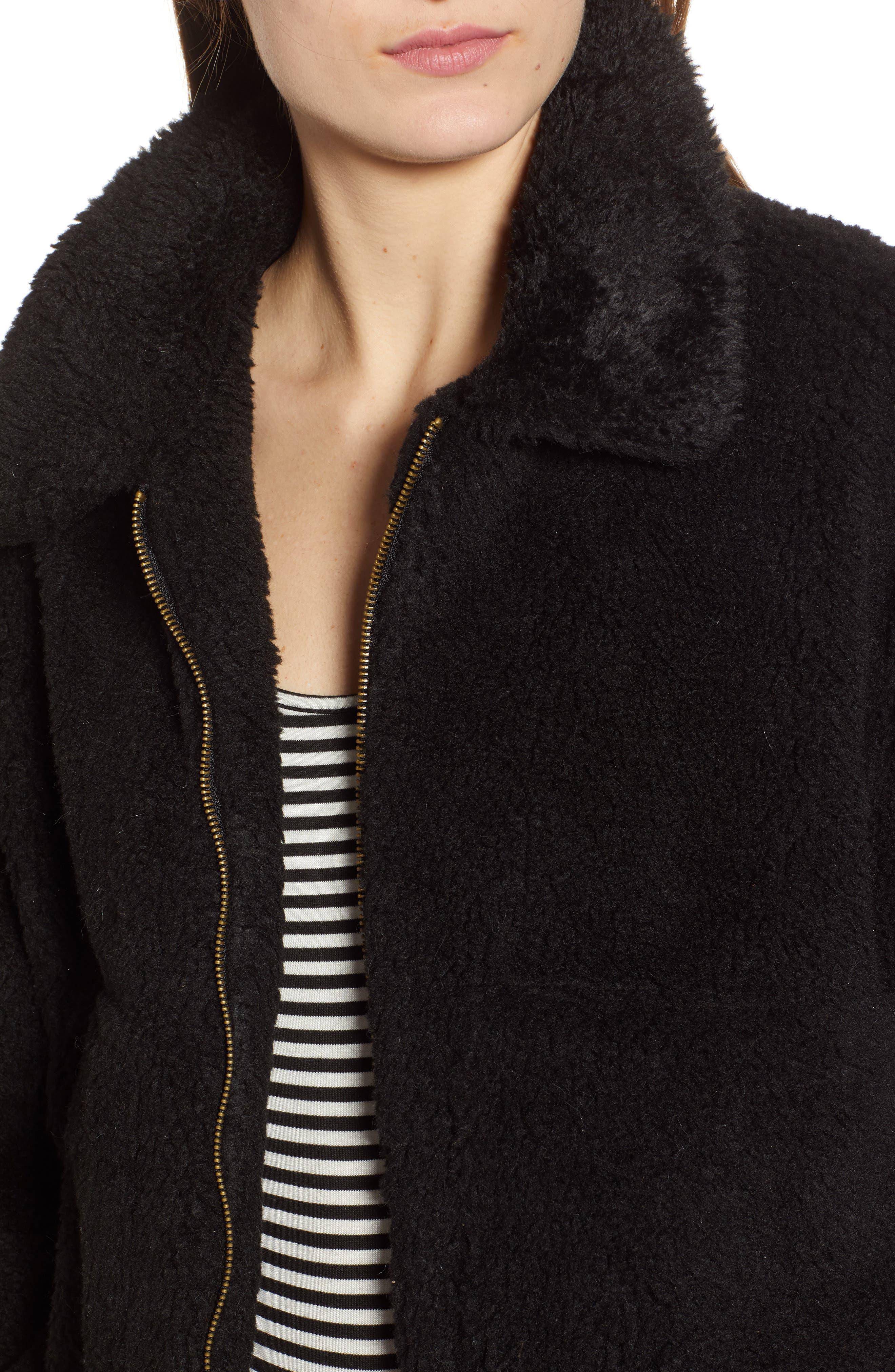 Northy Faux Fur Jacket,                             Alternate thumbnail 4, color,                             BLACK