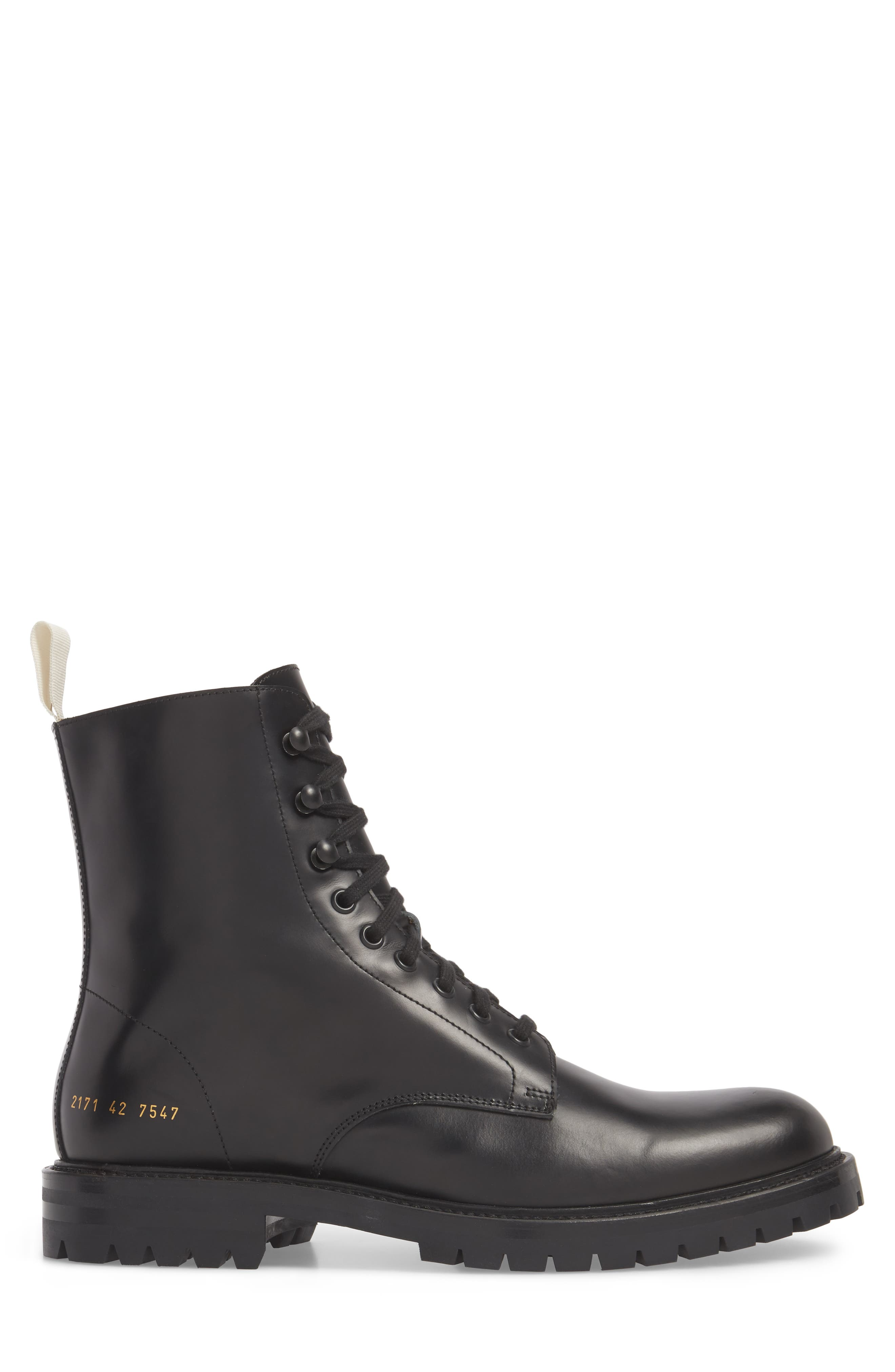 Zipper Combat Boot,                             Alternate thumbnail 3, color,                             BLACK LEATHER