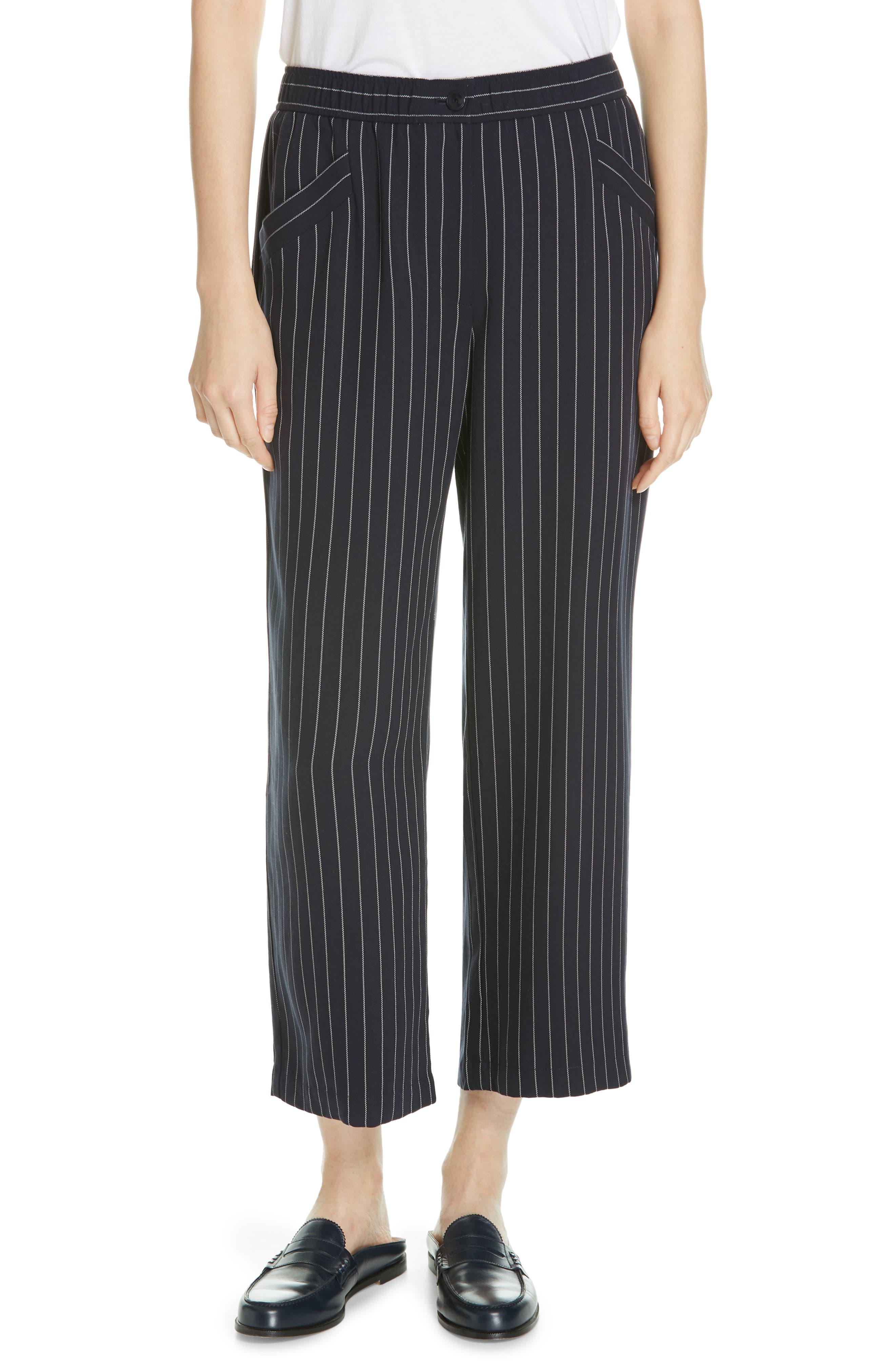 Pinstripe Crop Wide-Leg Pants, Main, color, INDIGO