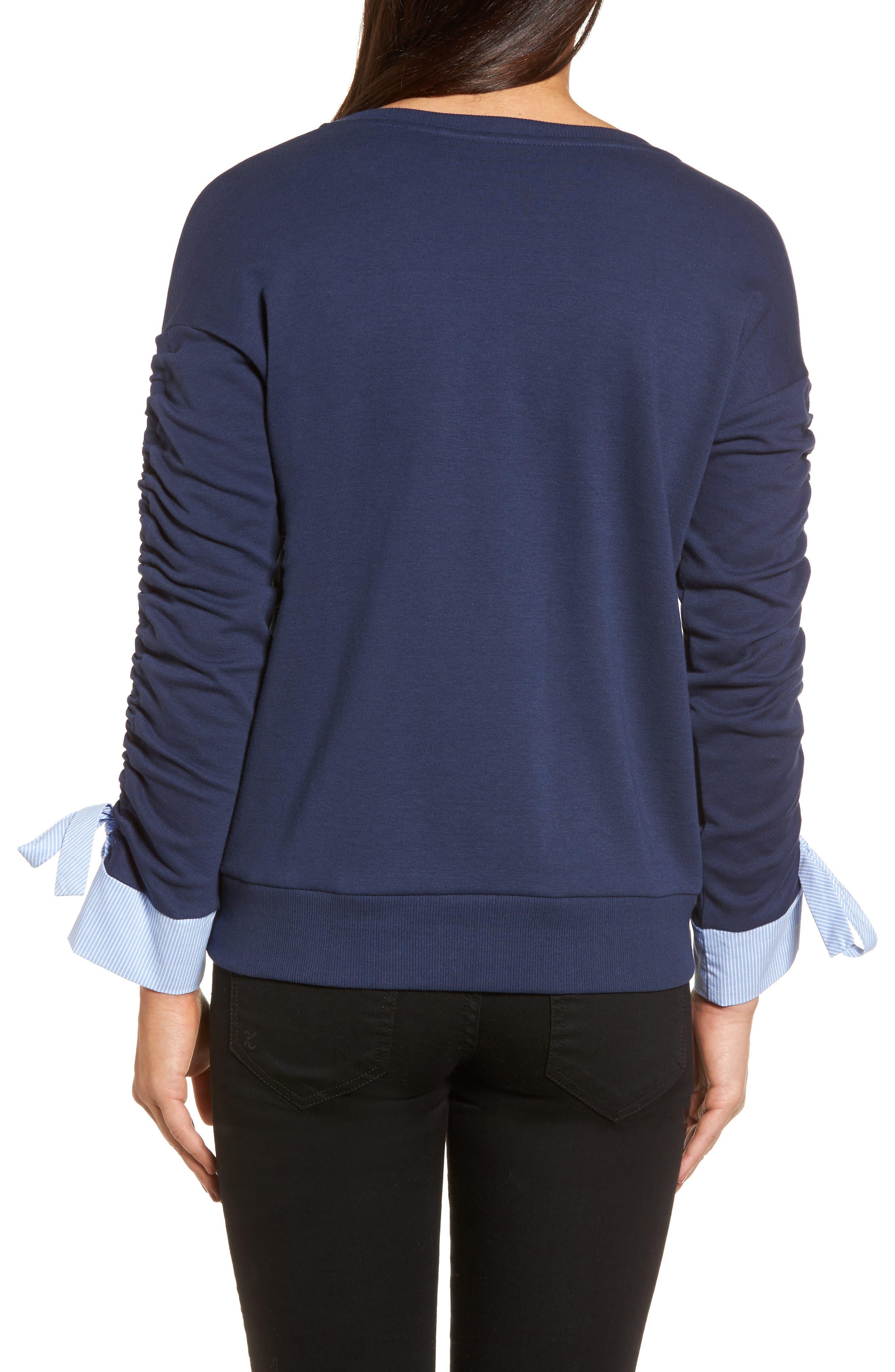 Ruched Sleeve Poplin Trim Sweatshirt,                             Alternate thumbnail 7, color,