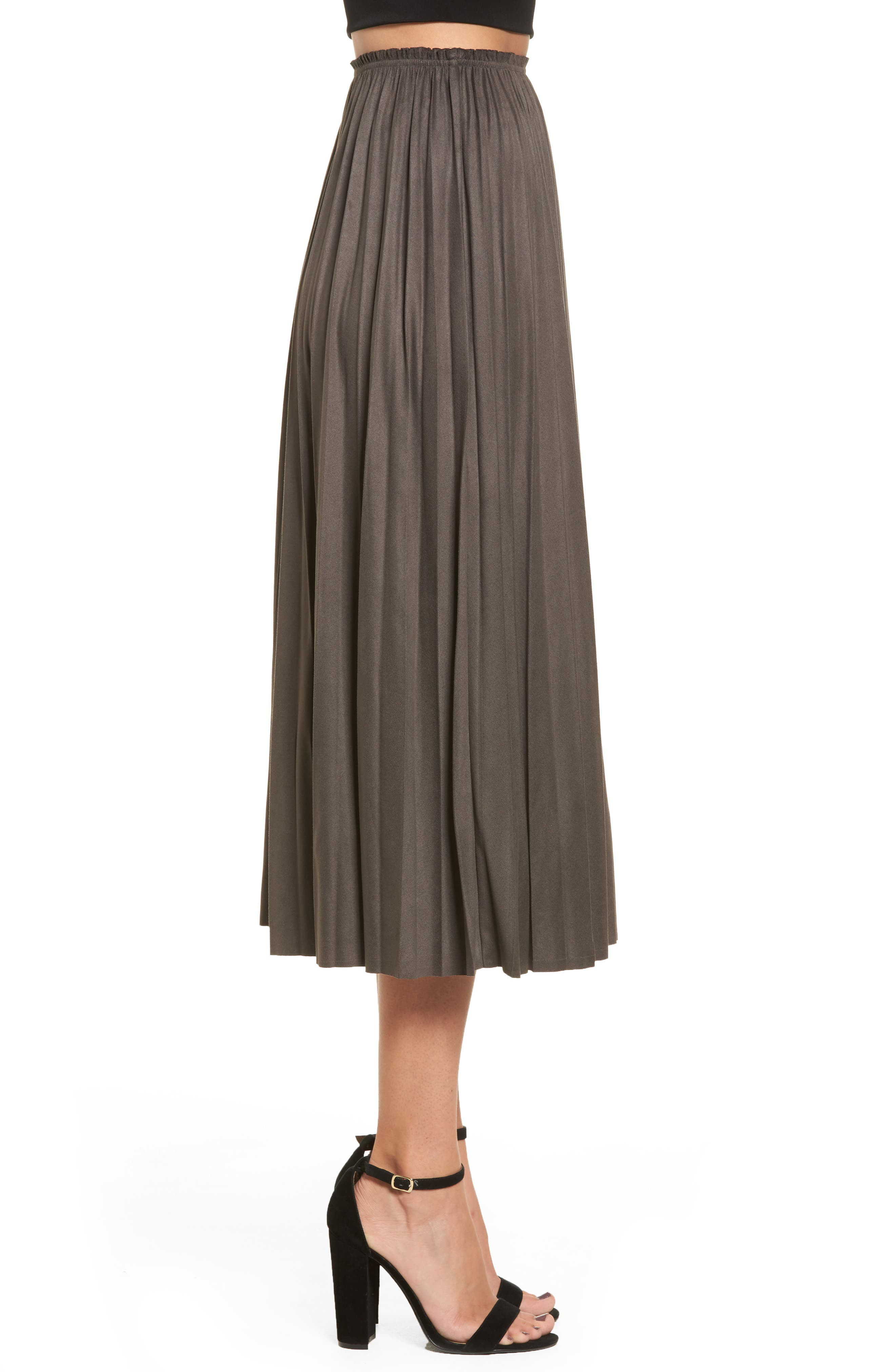 Pleated Faux Suede Midi Skirt,                             Alternate thumbnail 3, color,                             300