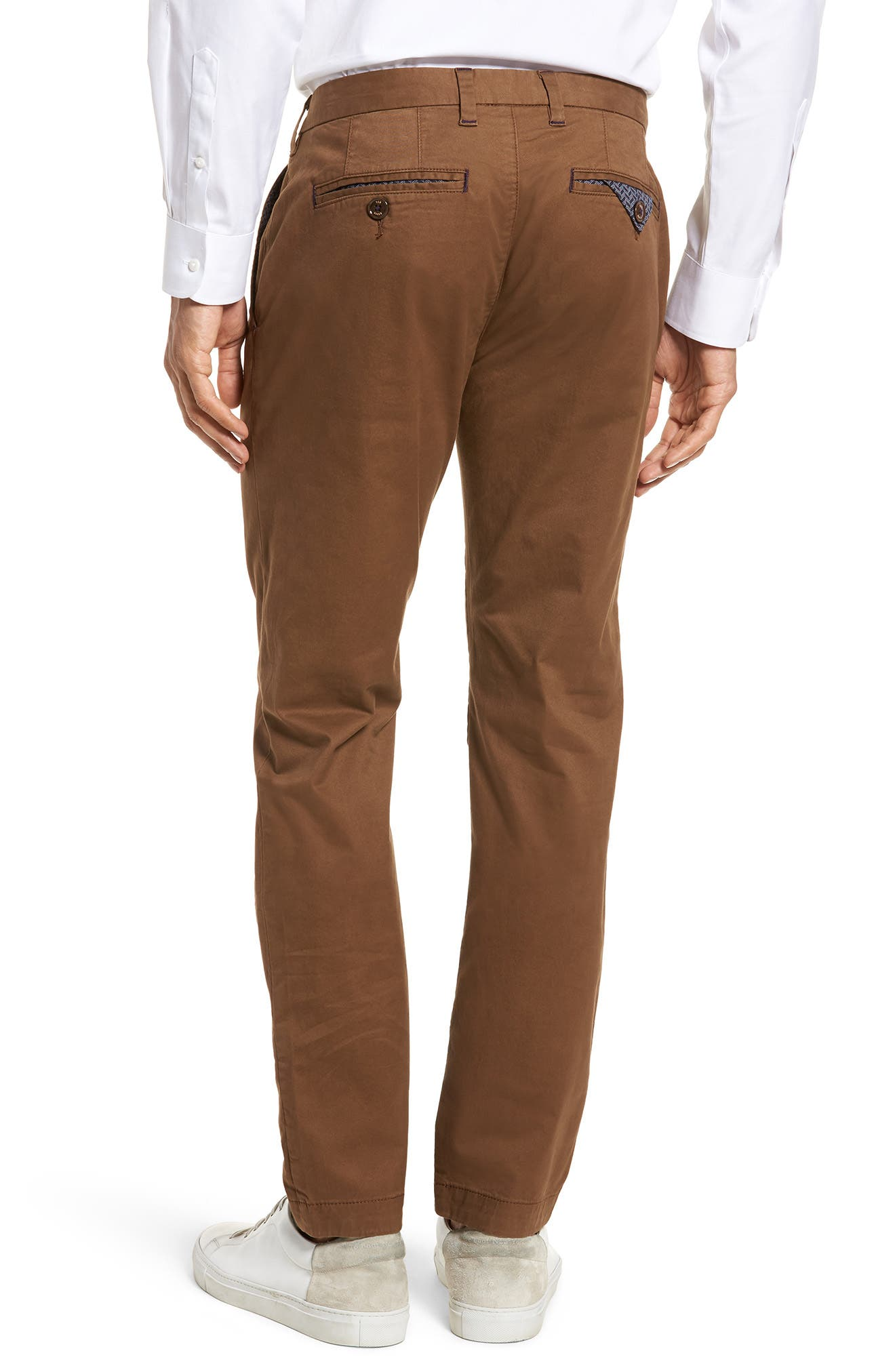Proctt Flat Front Stretch Solid Cotton Pants,                             Alternate thumbnail 2, color,                             TAN