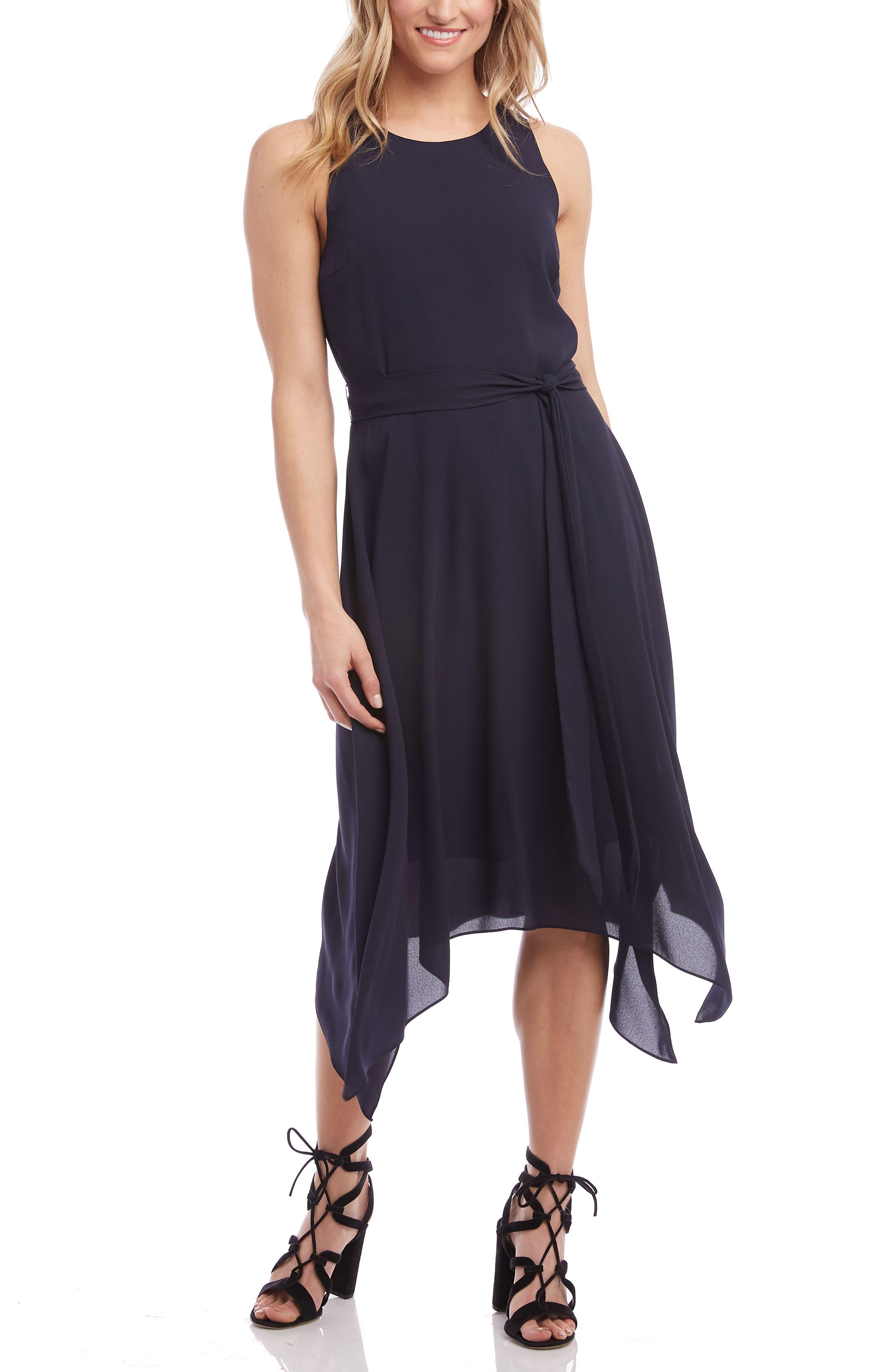 Karen Kane Sleeveless Handkerchief Hem Dress, Blue