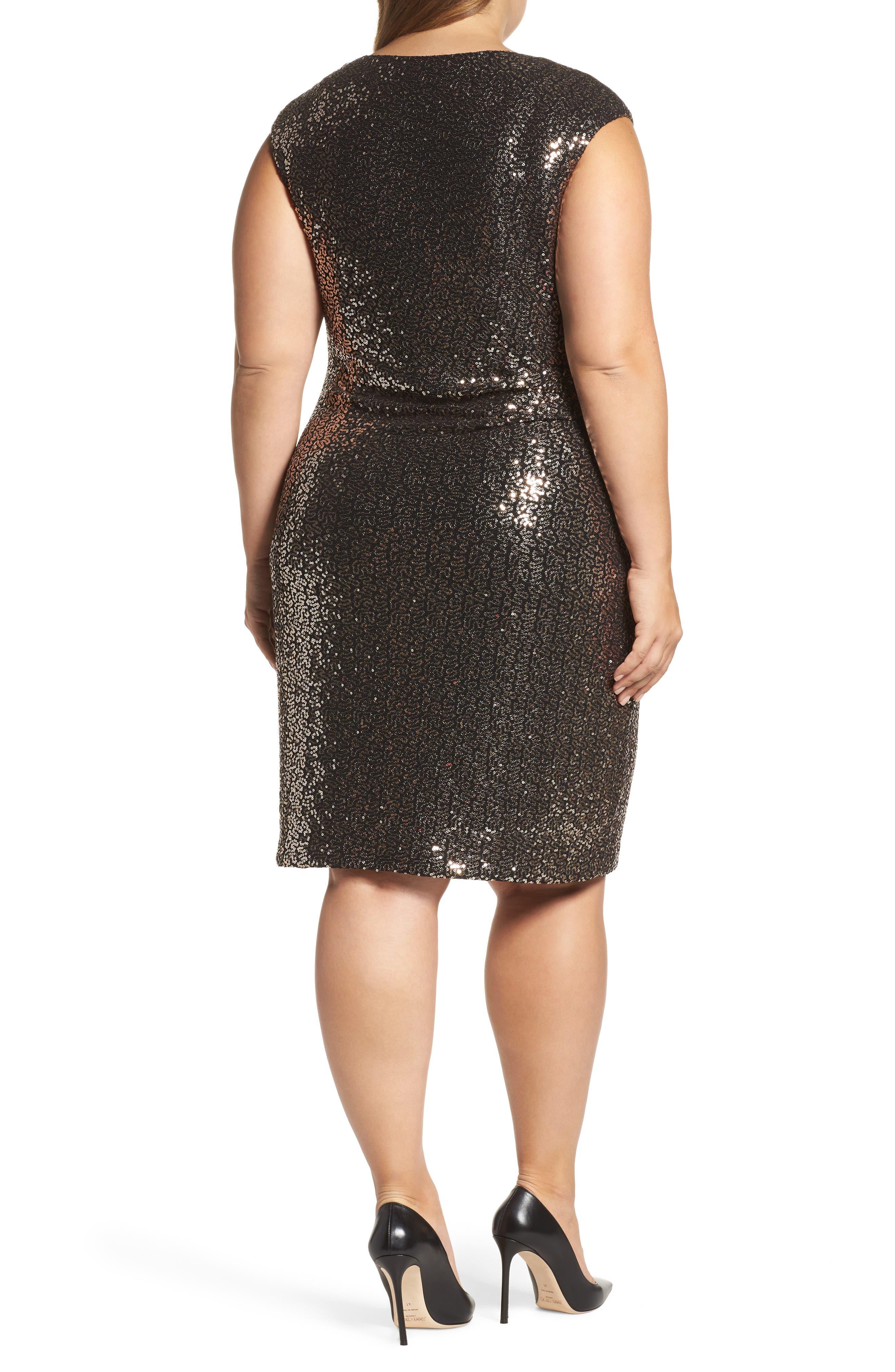 Drape Neck Sequin Sheath Dress,                             Alternate thumbnail 2, color,                             717