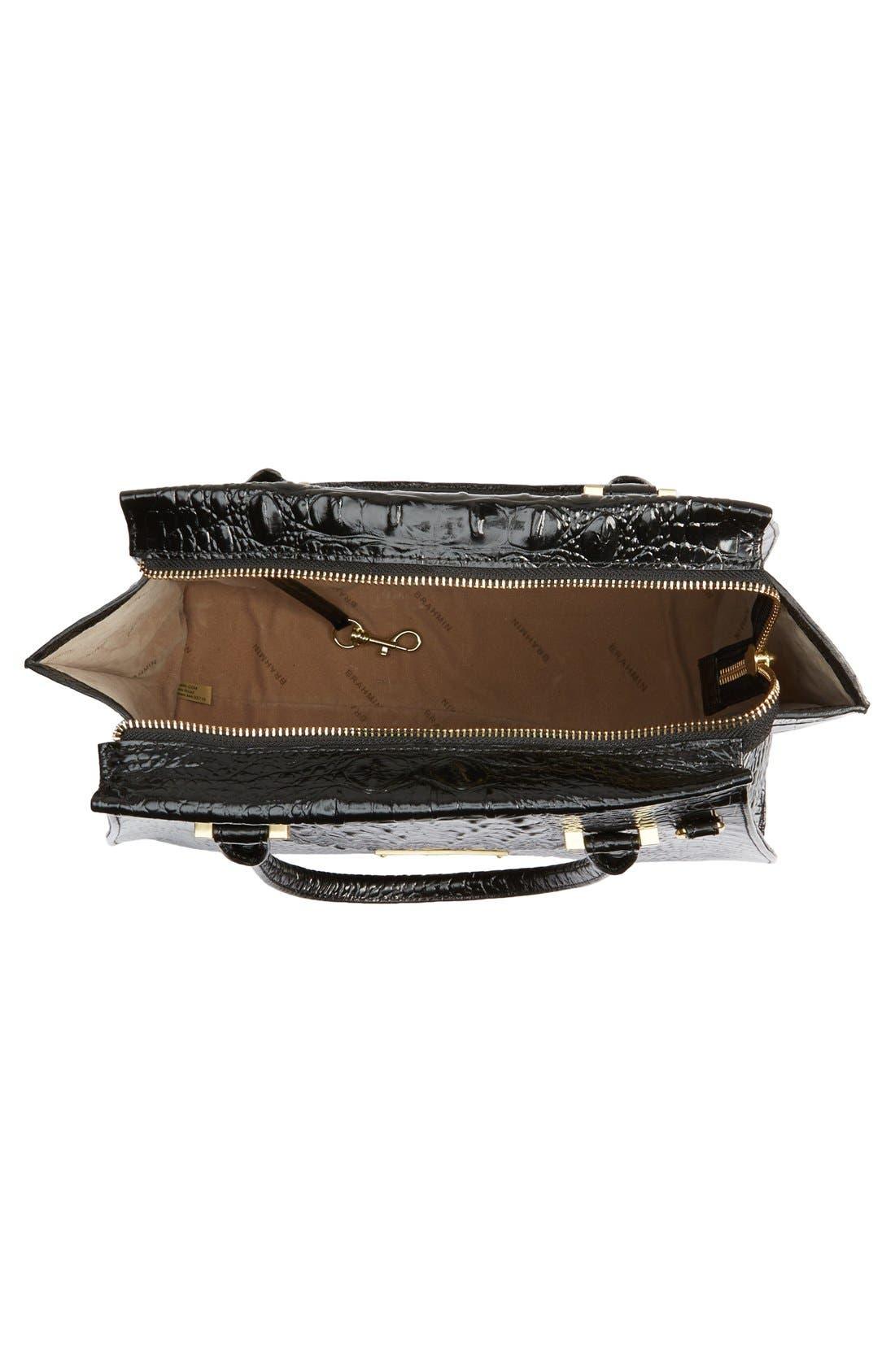 'Priscilla' Croc Embossed Leather Satchel,                             Alternate thumbnail 6, color,                             BLACK