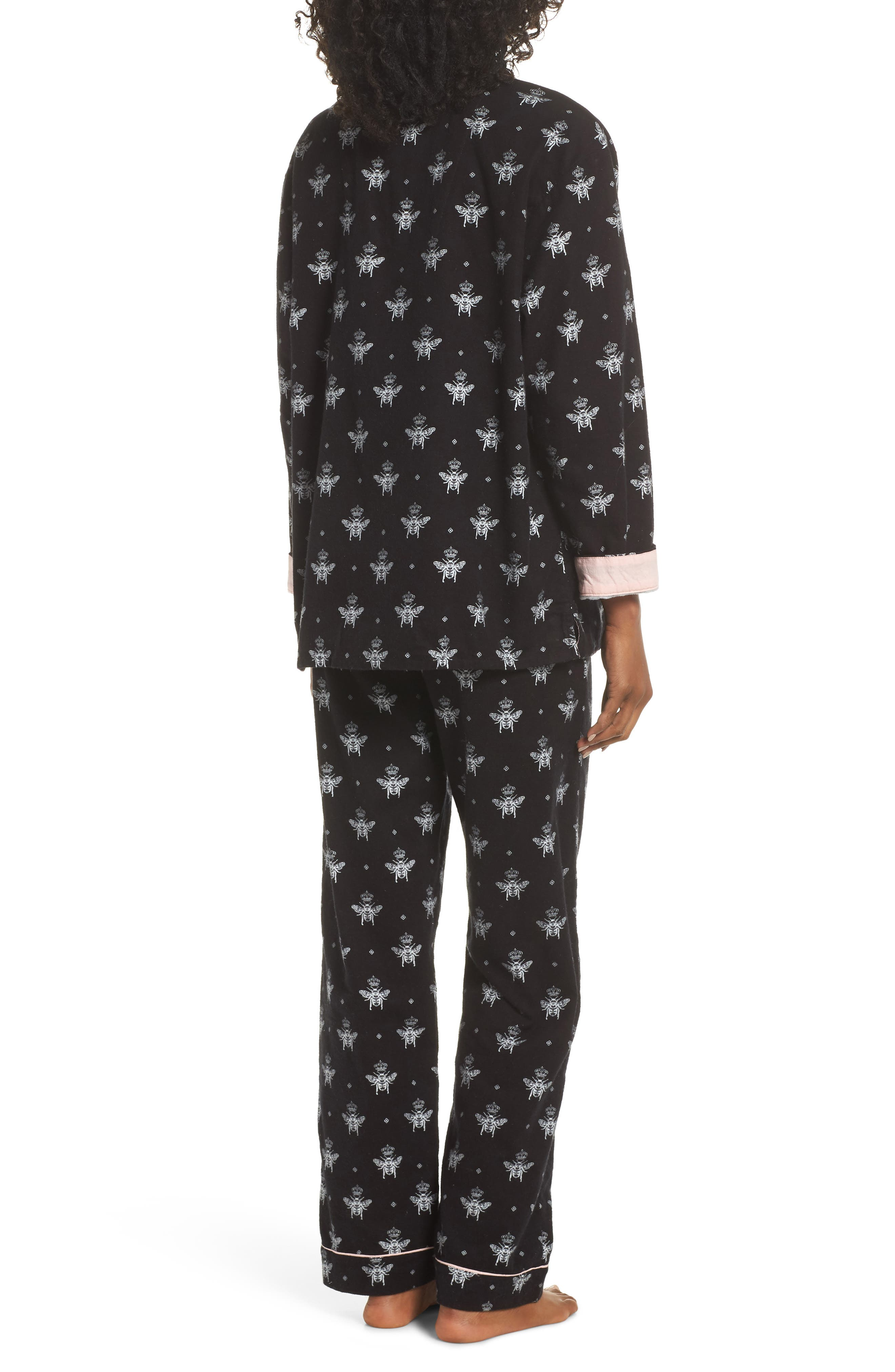 Print Flannel Pajamas,                             Alternate thumbnail 2, color,                             BLACK