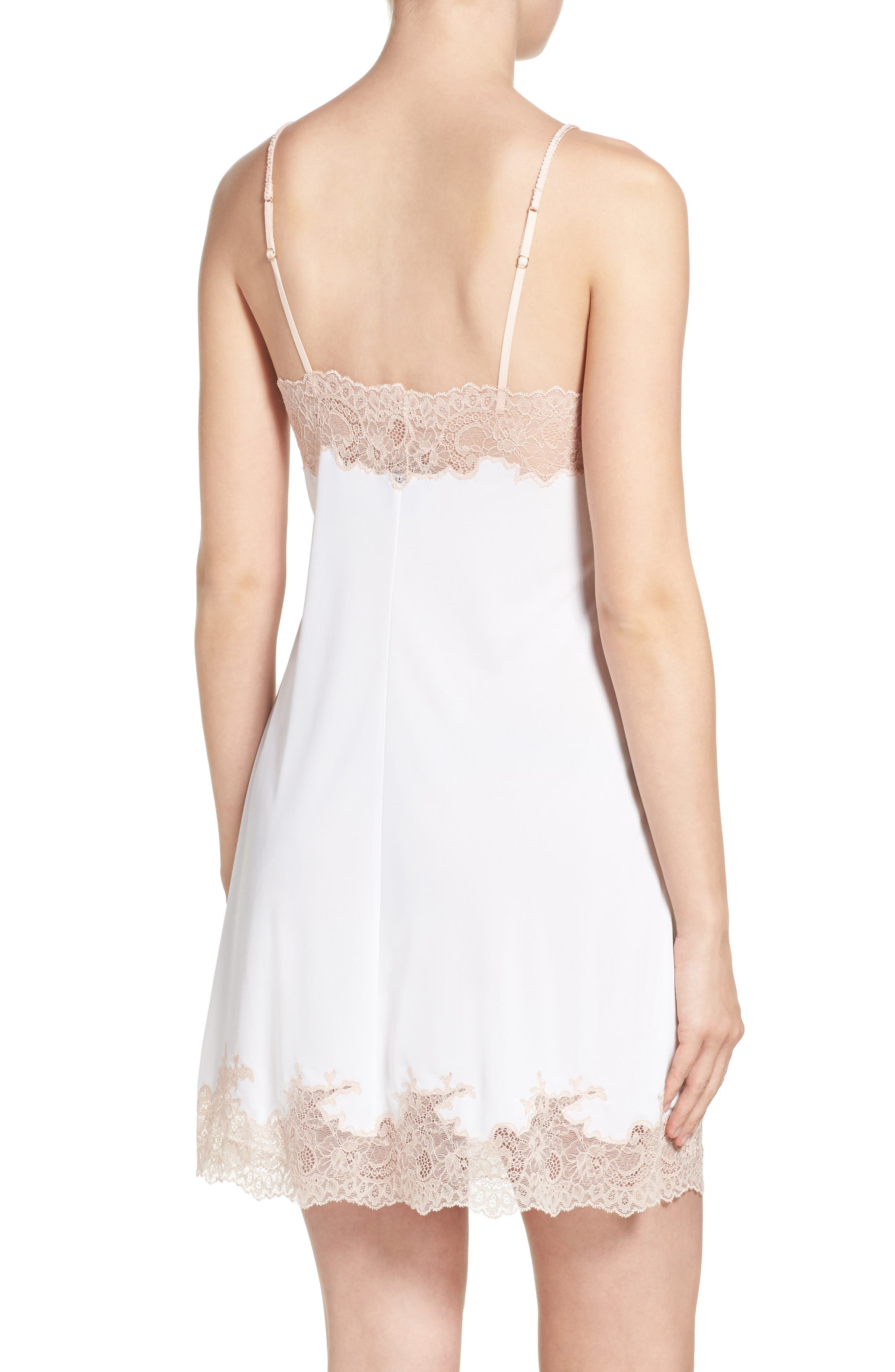 Enchant Chemise,                             Alternate thumbnail 2, color,                             IVORY/ CAMEO ROSE LACE