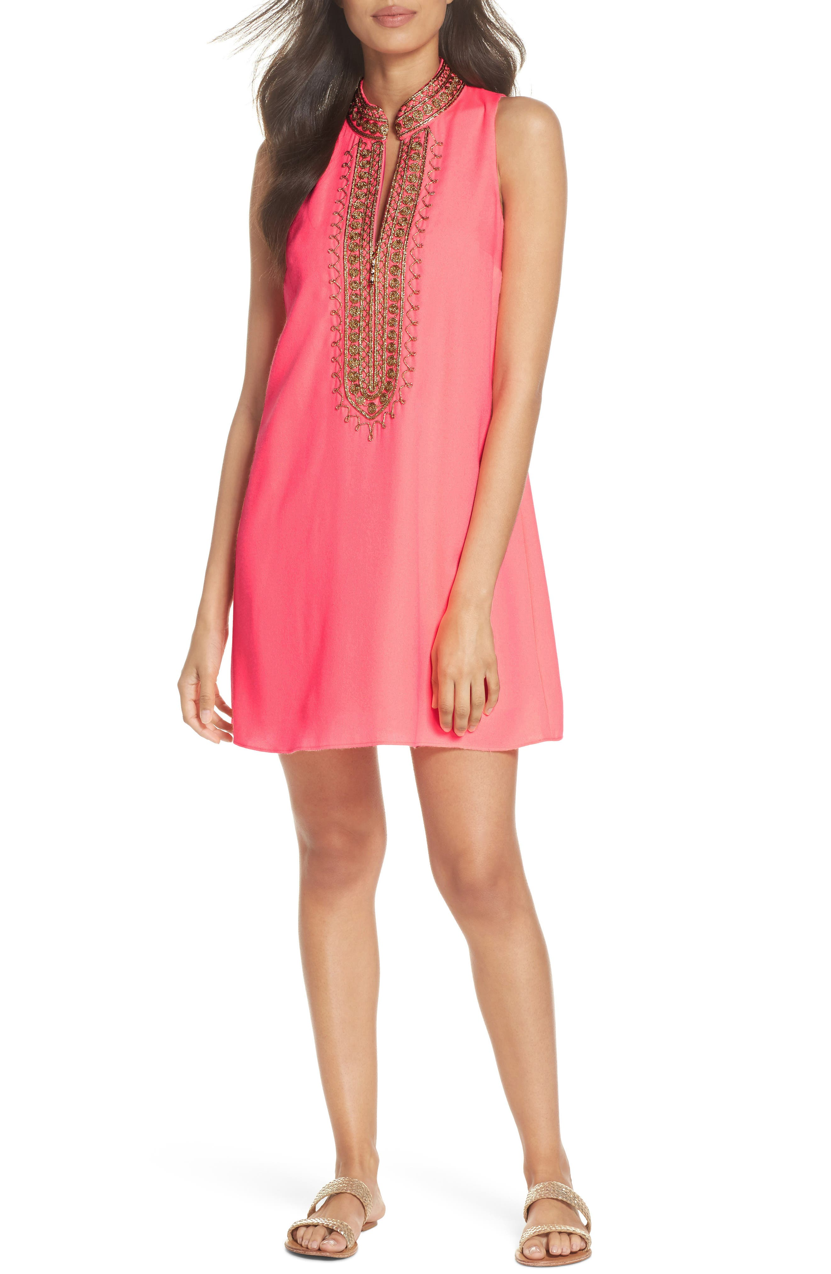 Jane Embroidered Shift Dress,                         Main,                         color, 699